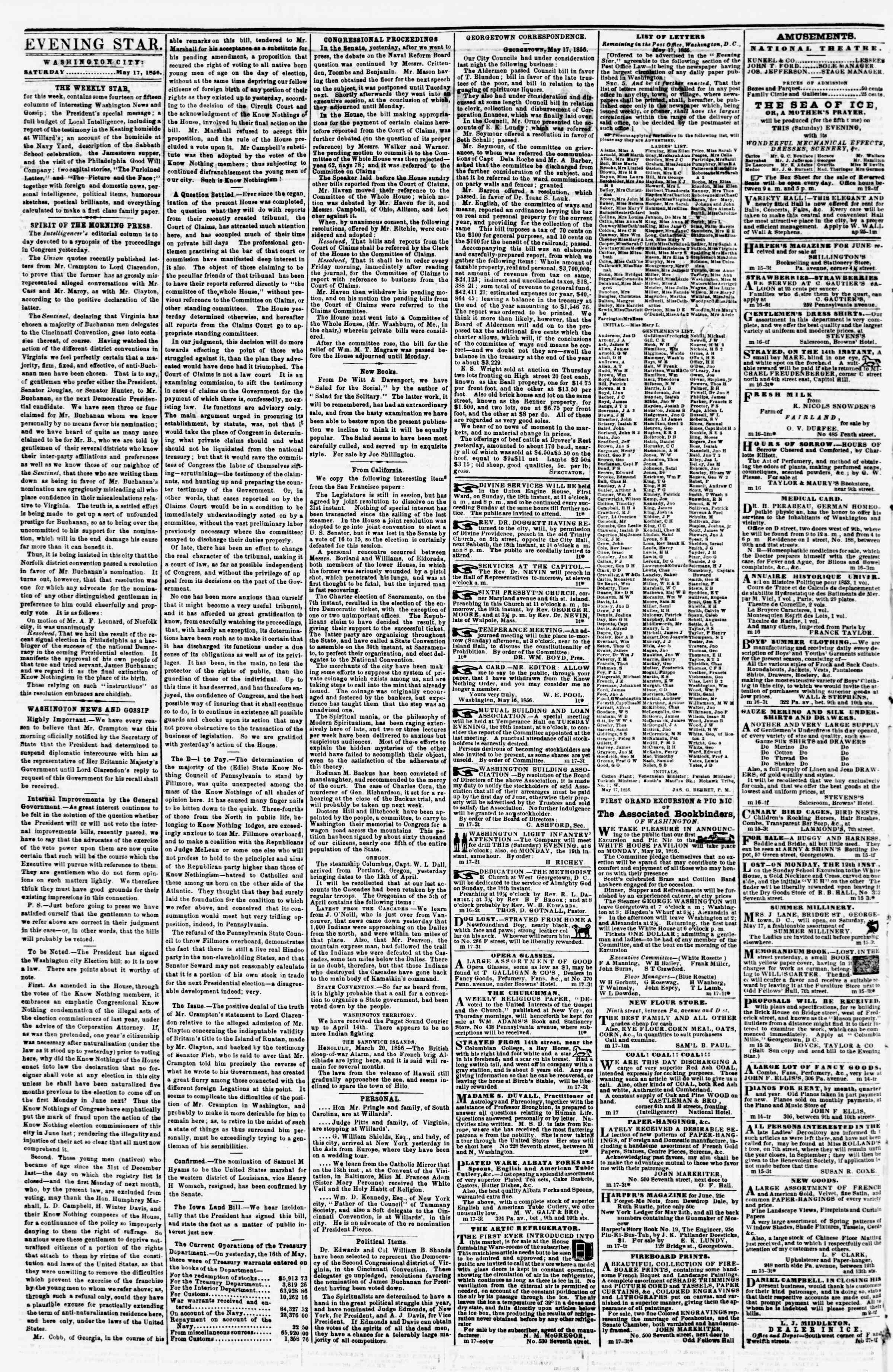 Newspaper of Evening Star dated May 17, 1856 Page 2