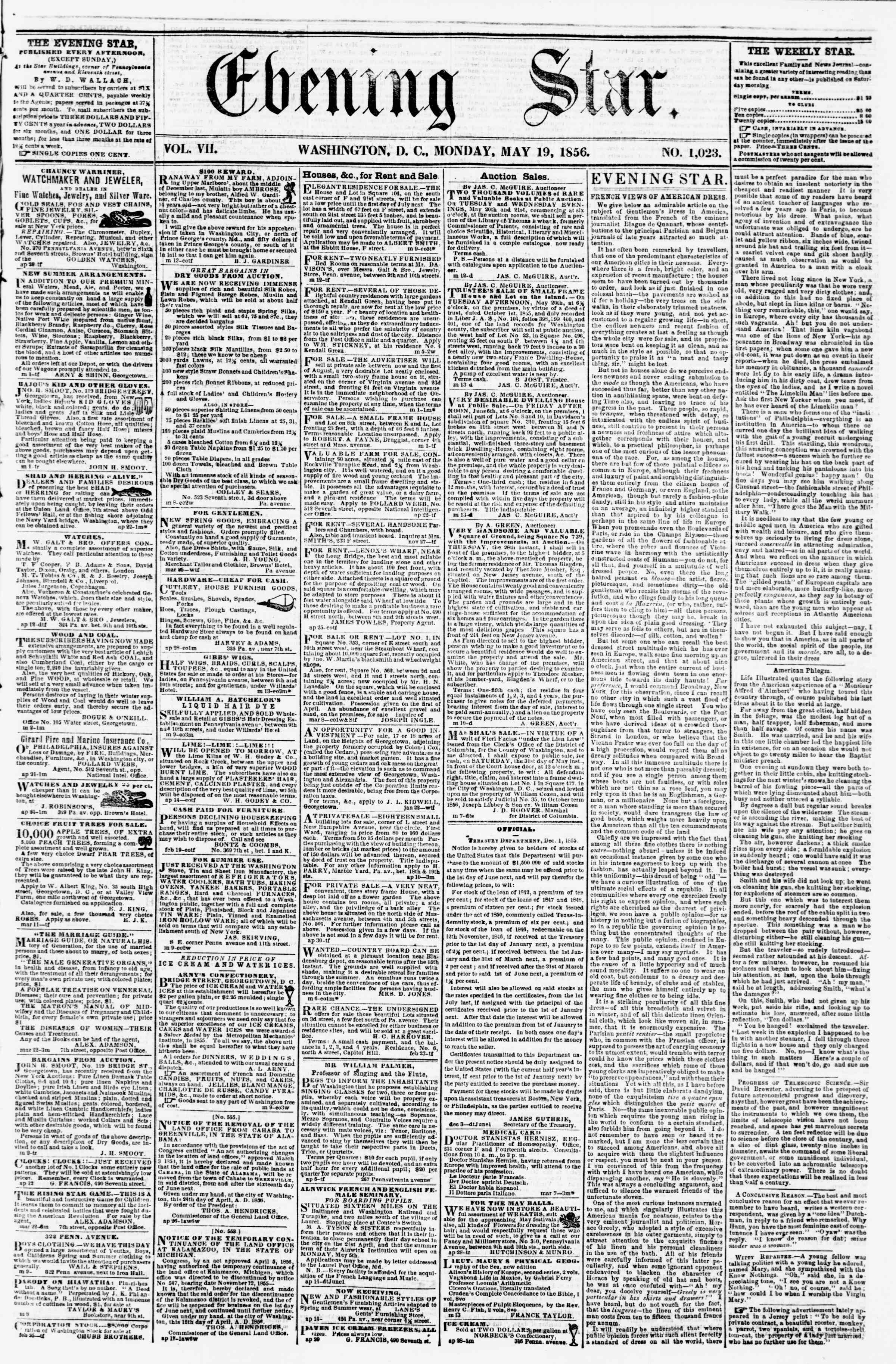 Newspaper of Evening Star dated May 19, 1856 Page 1
