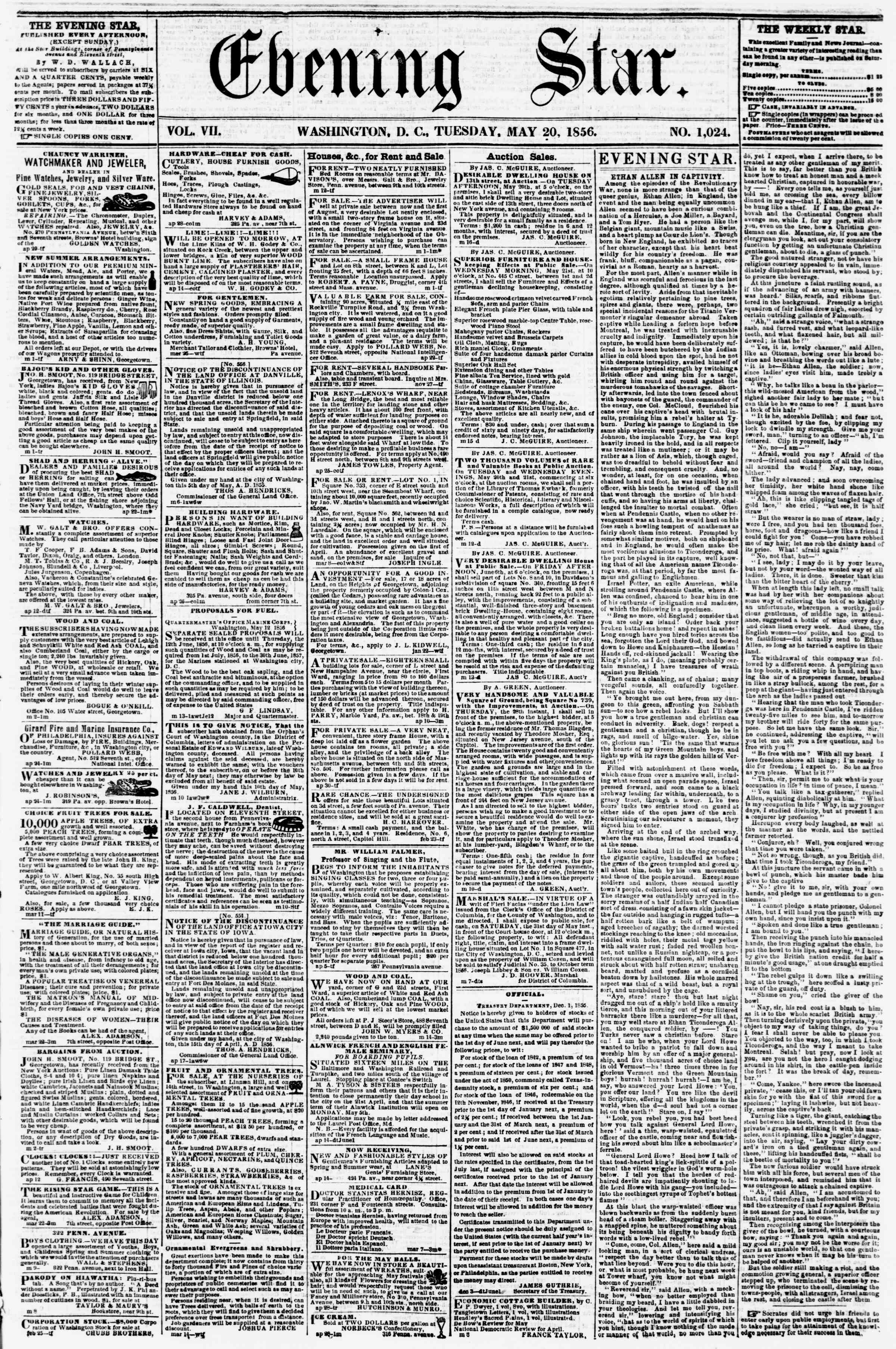 Newspaper of Evening Star dated May 20, 1856 Page 1