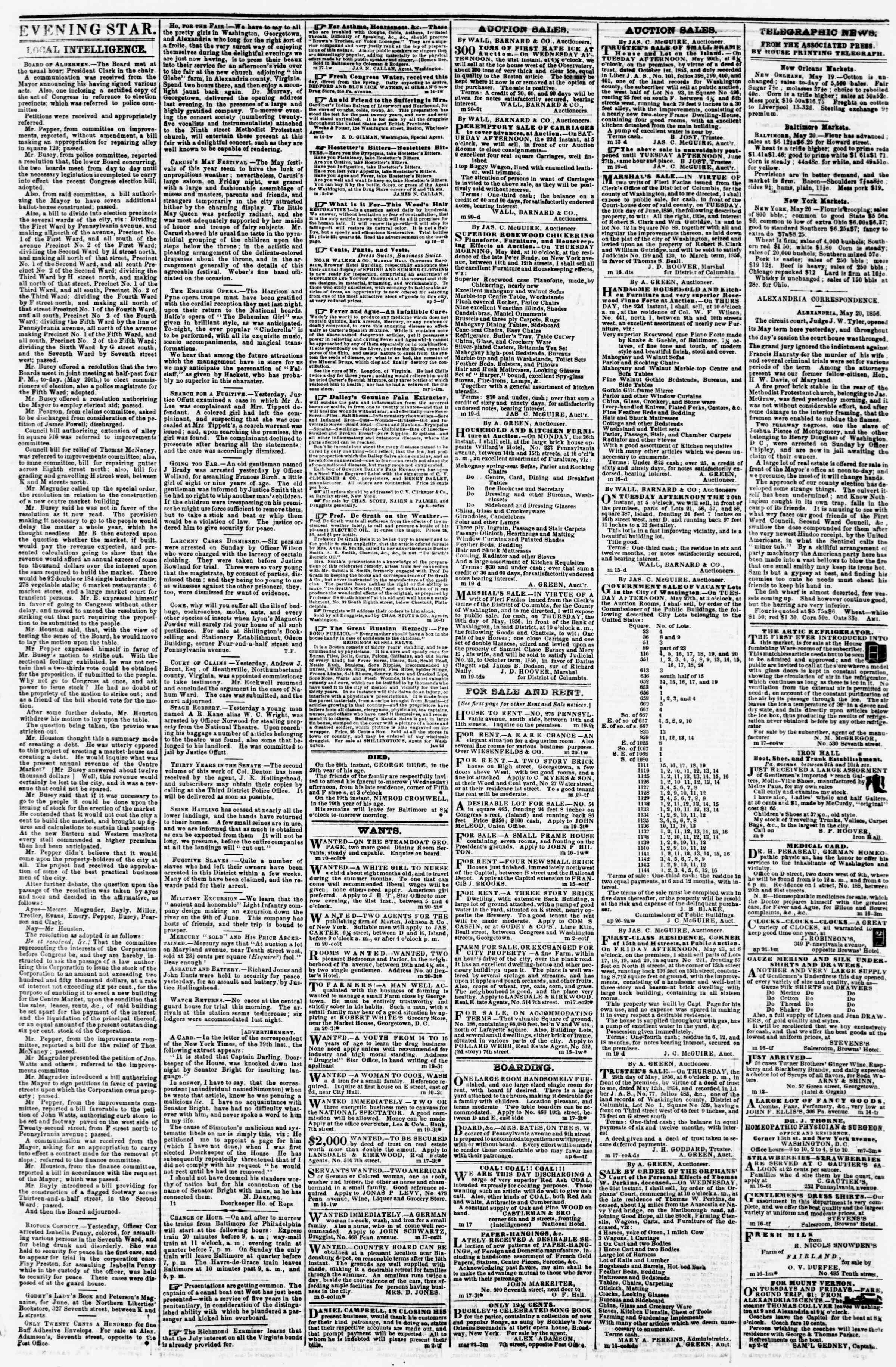Newspaper of Evening Star dated May 20, 1856 Page 3
