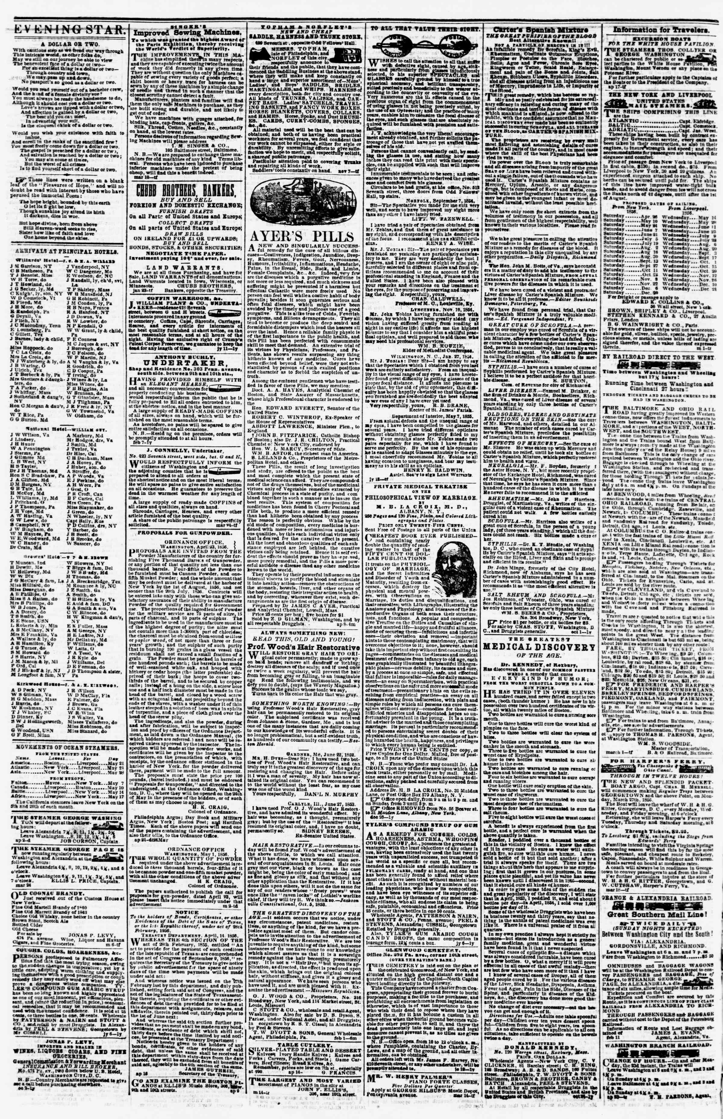 Newspaper of Evening Star dated May 21, 1856 Page 4
