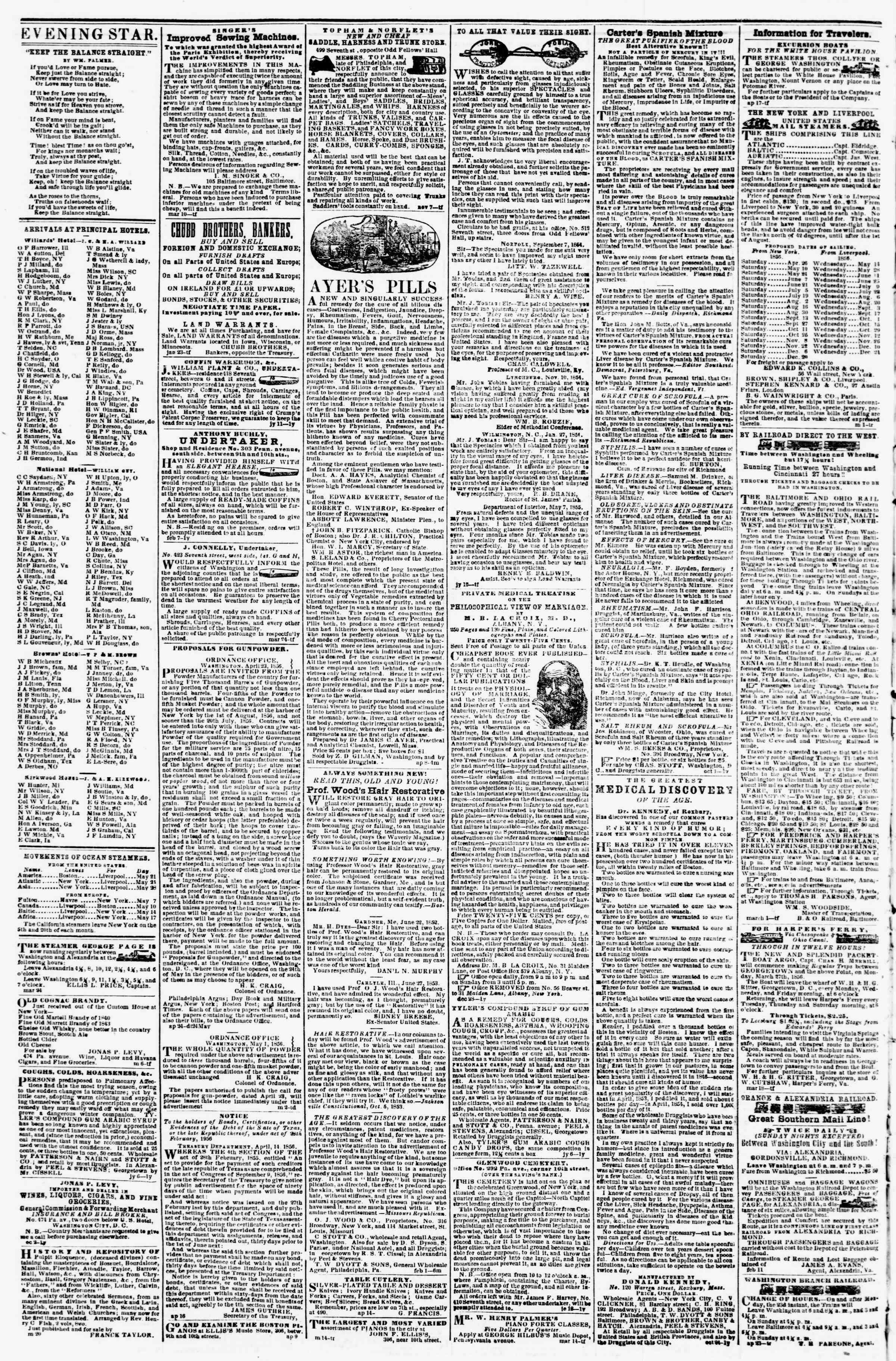 Newspaper of Evening Star dated May 23, 1856 Page 4