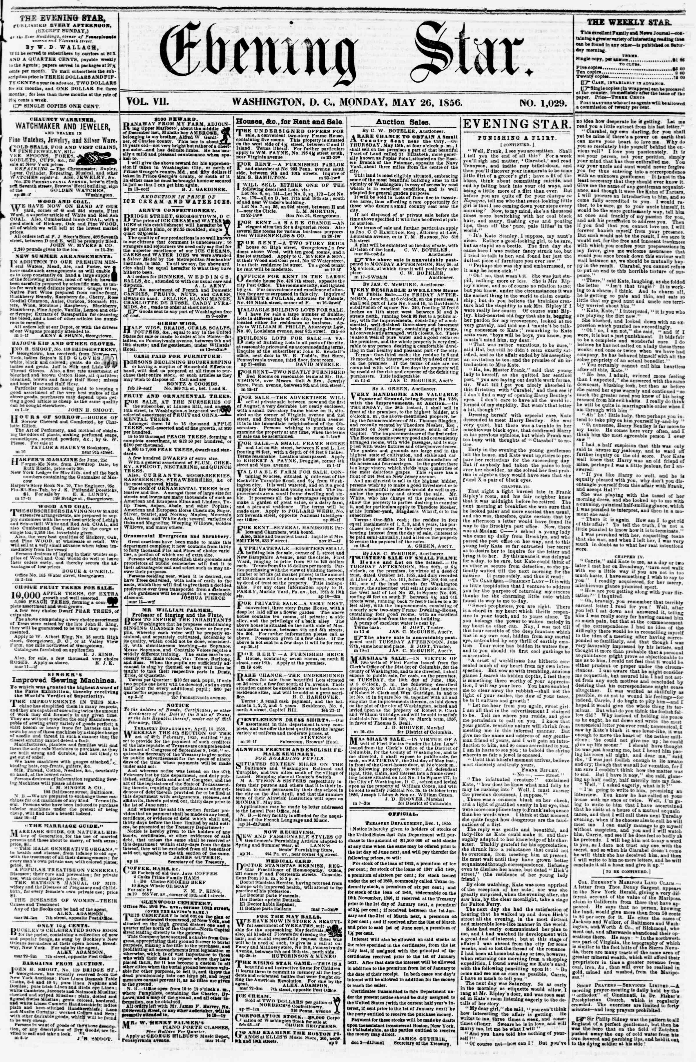 Newspaper of Evening Star dated May 26, 1856 Page 1