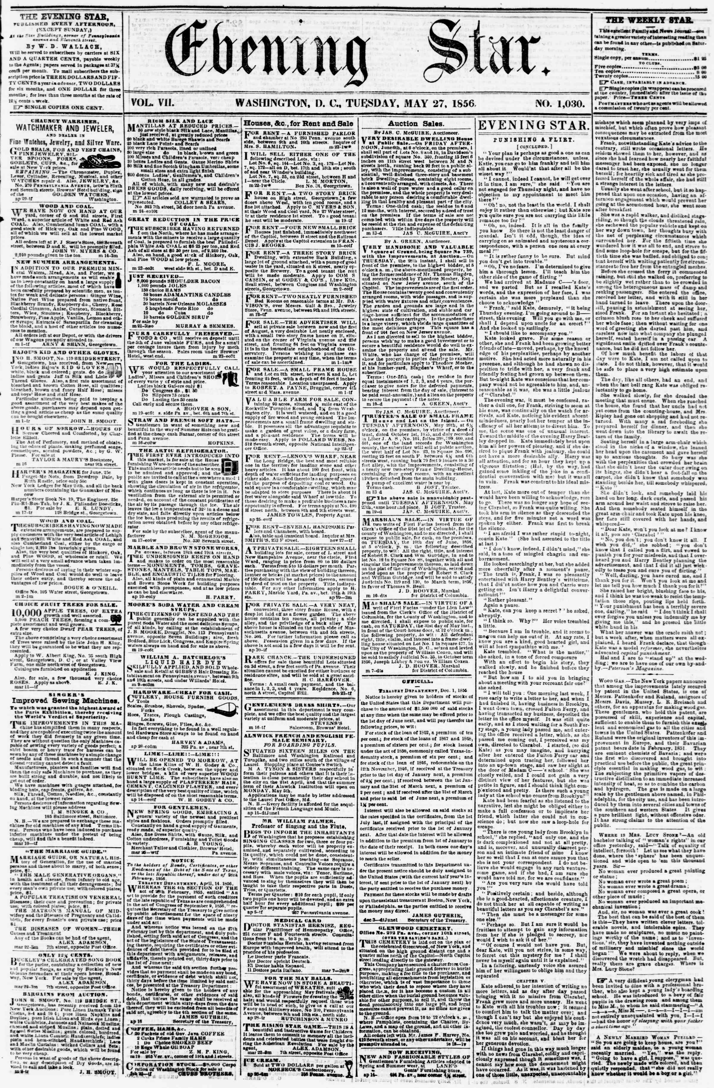Newspaper of Evening Star dated May 27, 1856 Page 1