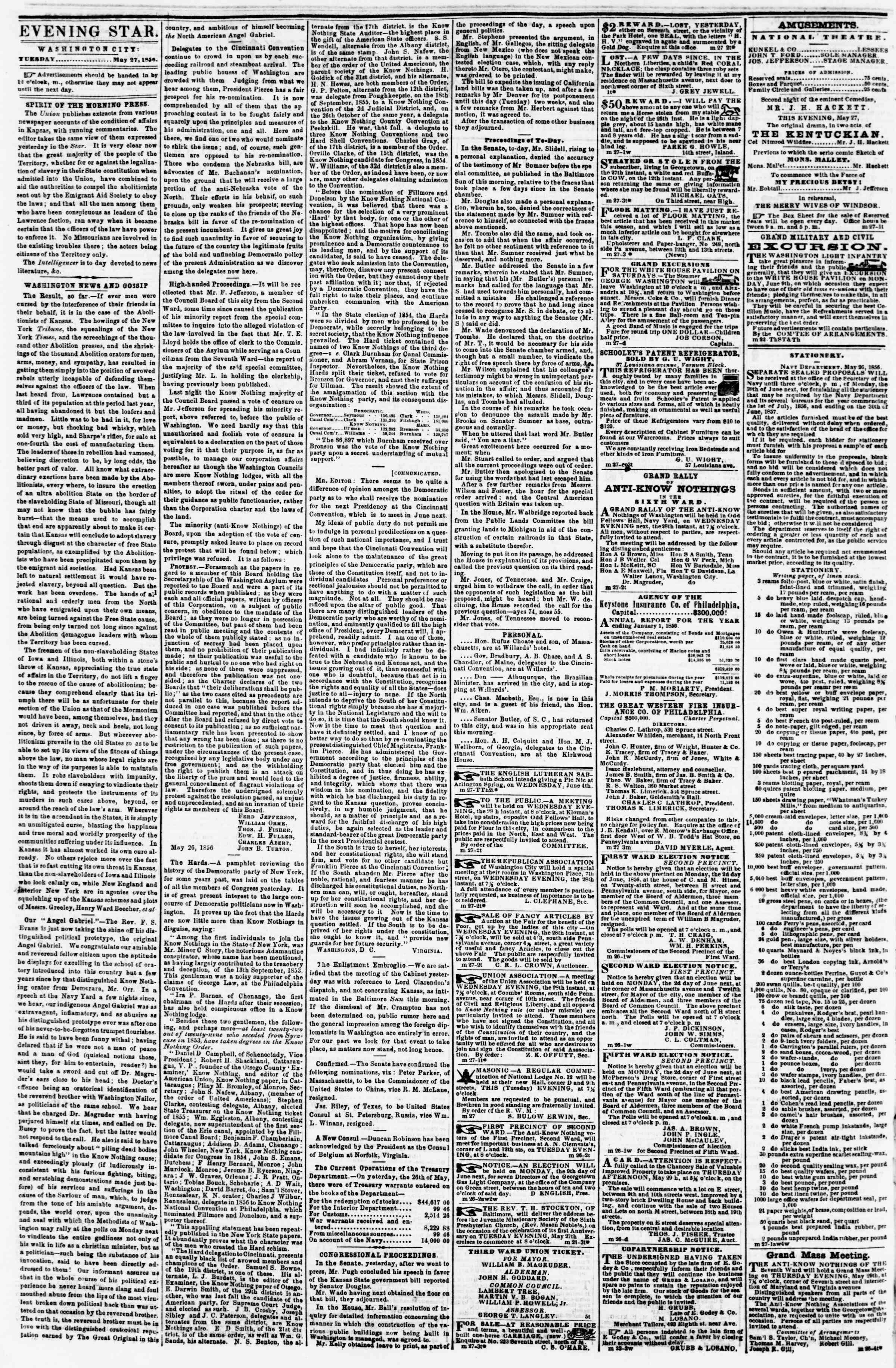 Newspaper of Evening Star dated May 27, 1856 Page 2