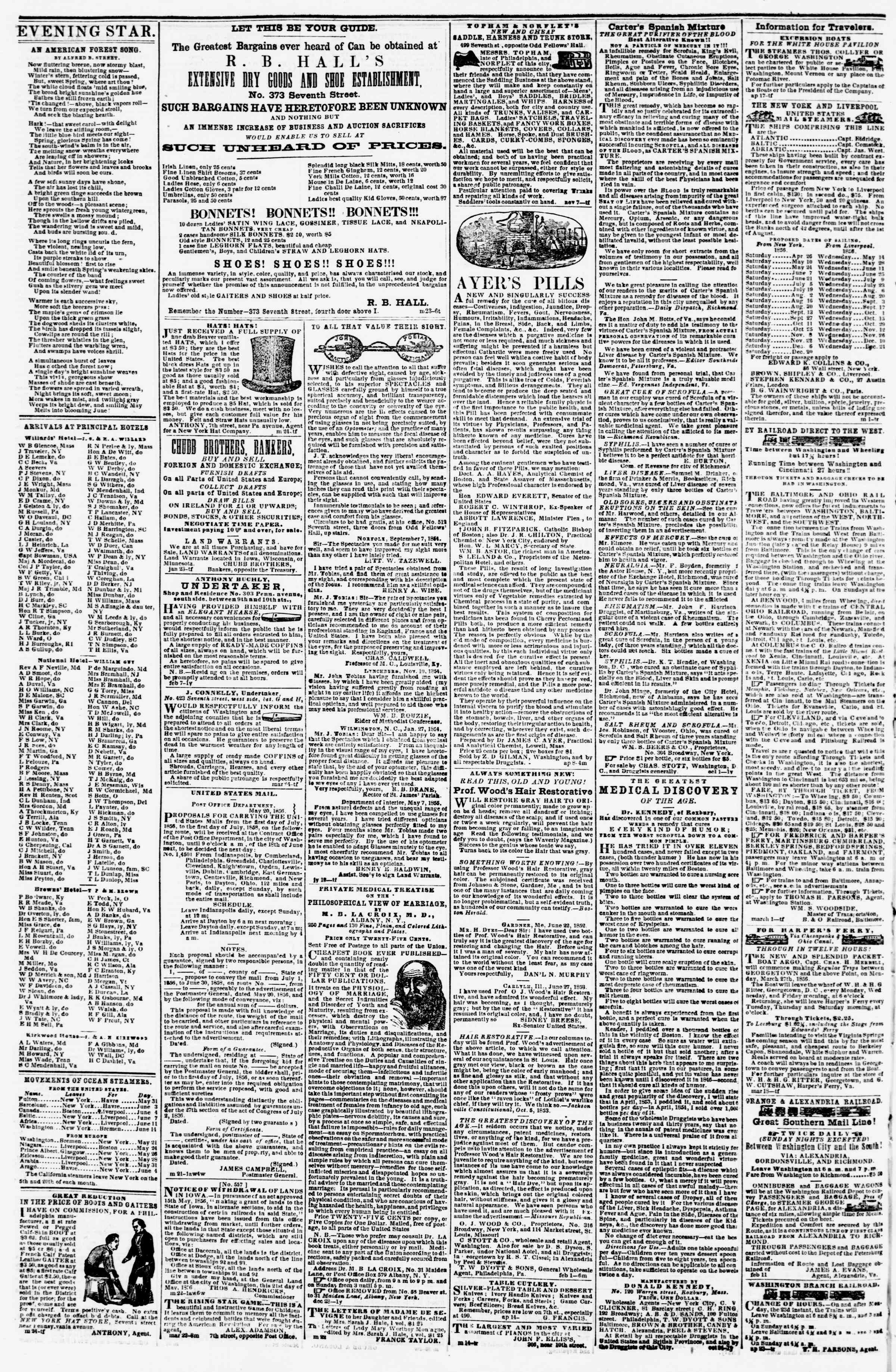 Newspaper of Evening Star dated May 29, 1856 Page 4