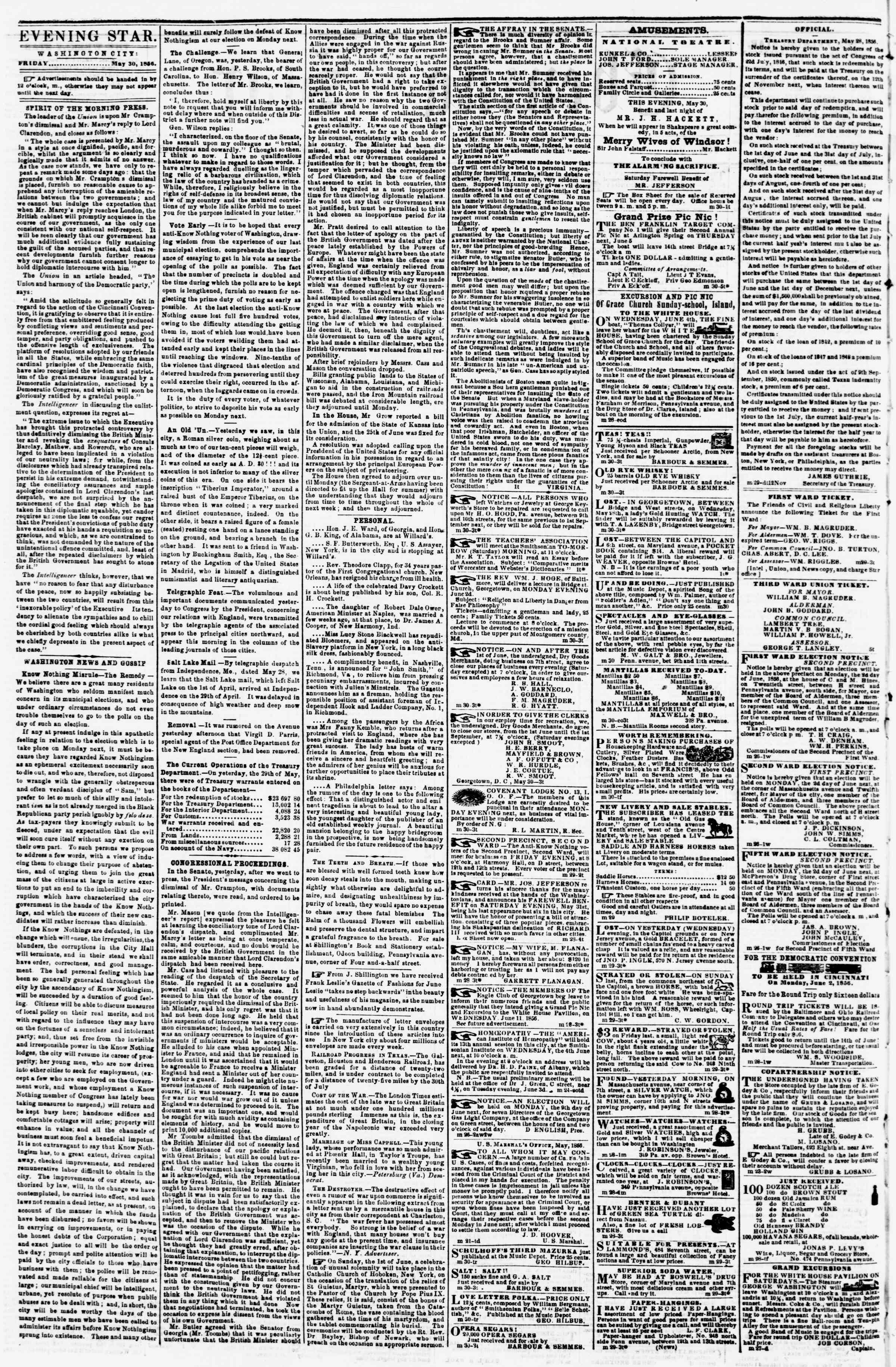 Newspaper of Evening Star dated May 30, 1856 Page 2