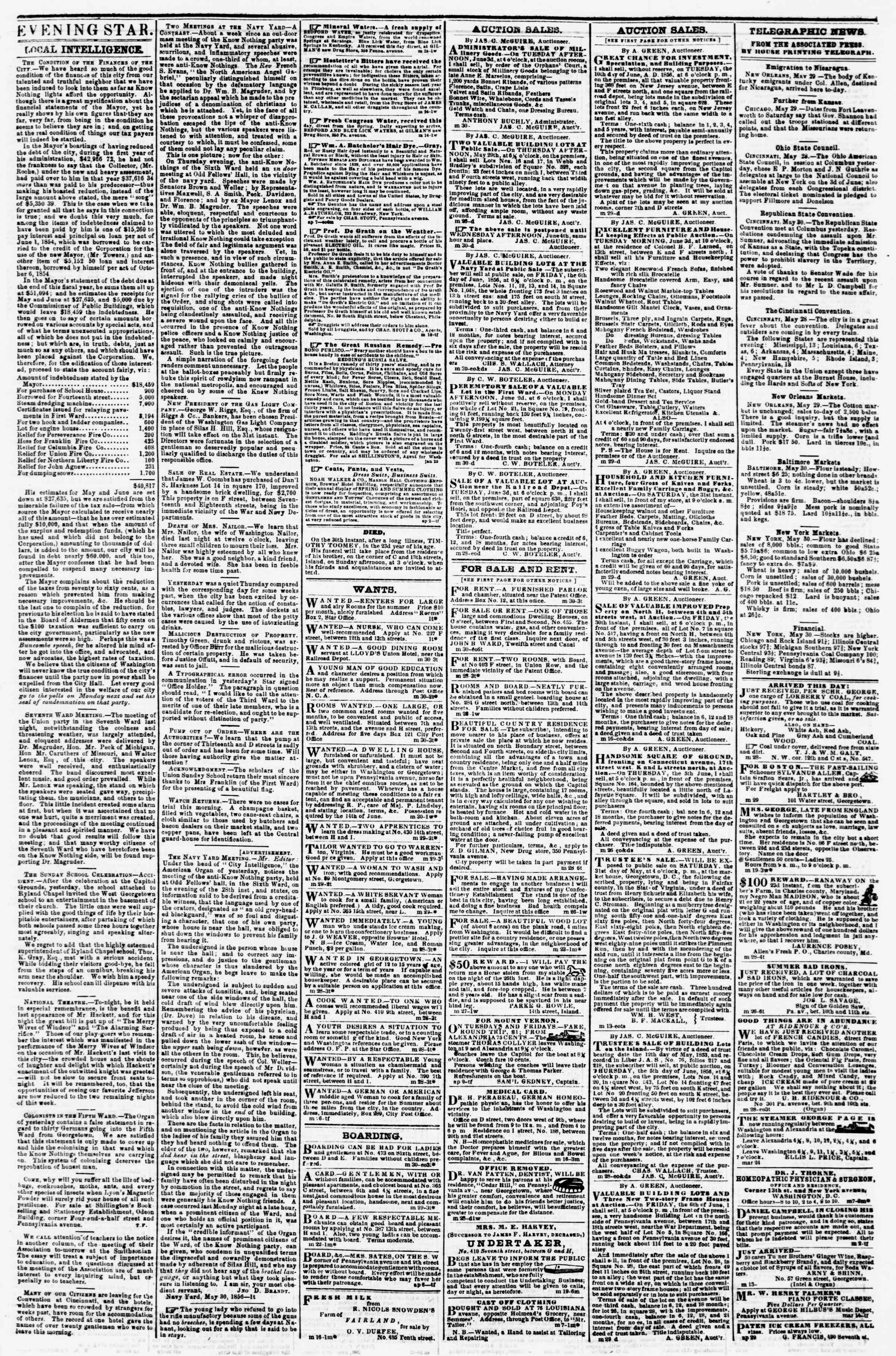 Newspaper of Evening Star dated May 30, 1856 Page 3