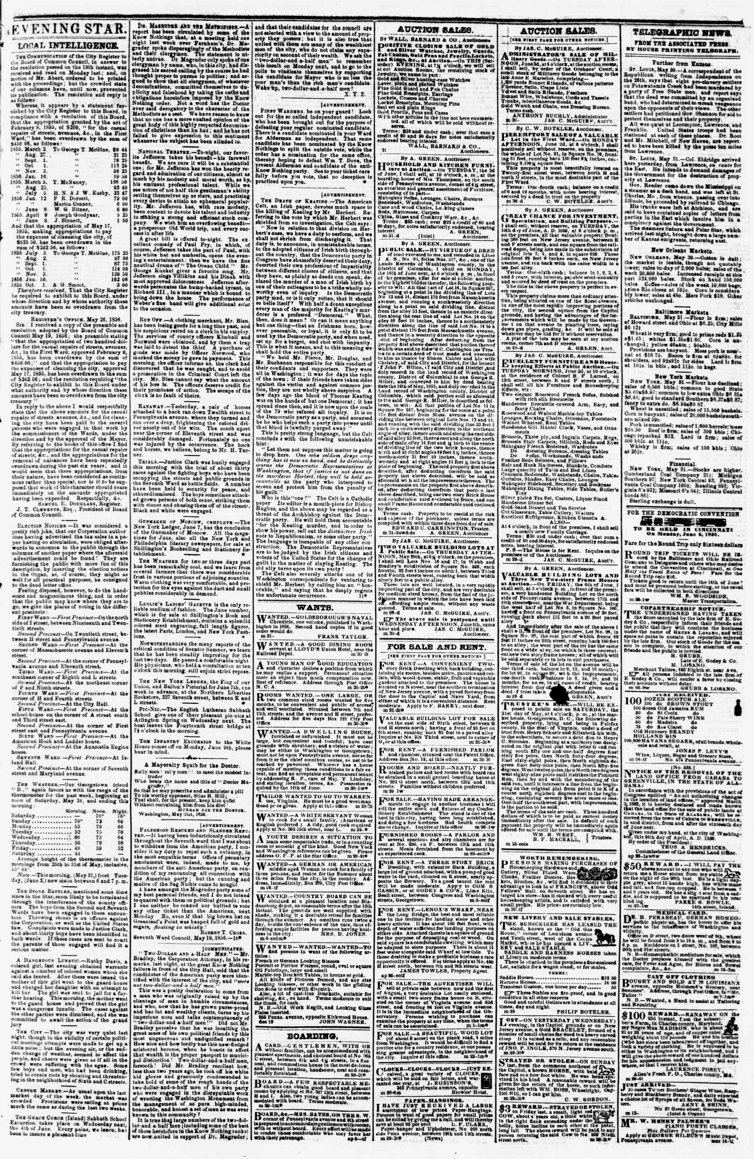 Newspaper of Evening Star dated May 31, 1856 Page 3