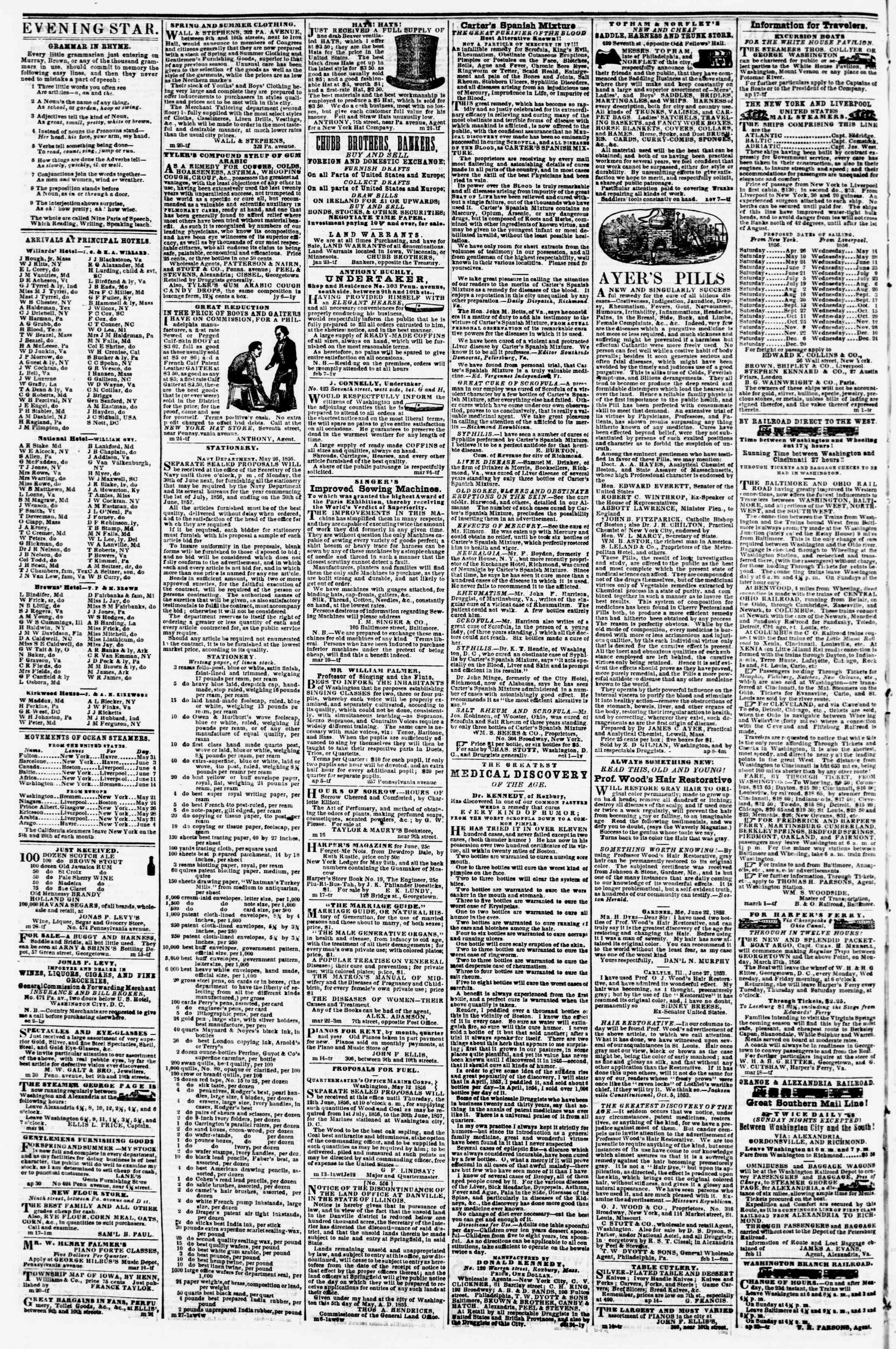 Newspaper of Evening Star dated June 3, 1856 Page 4