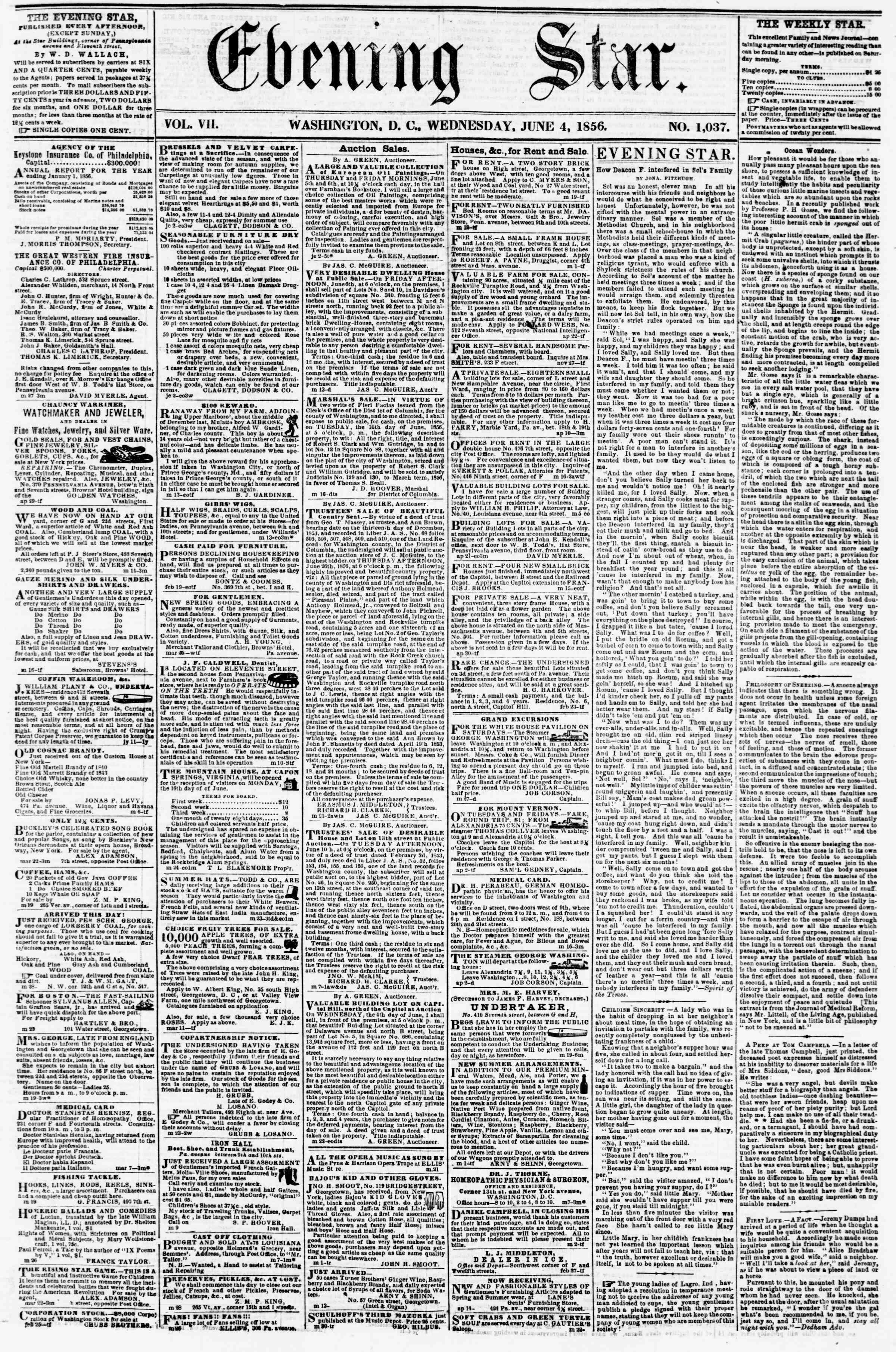 Newspaper of Evening Star dated June 4, 1856 Page 1