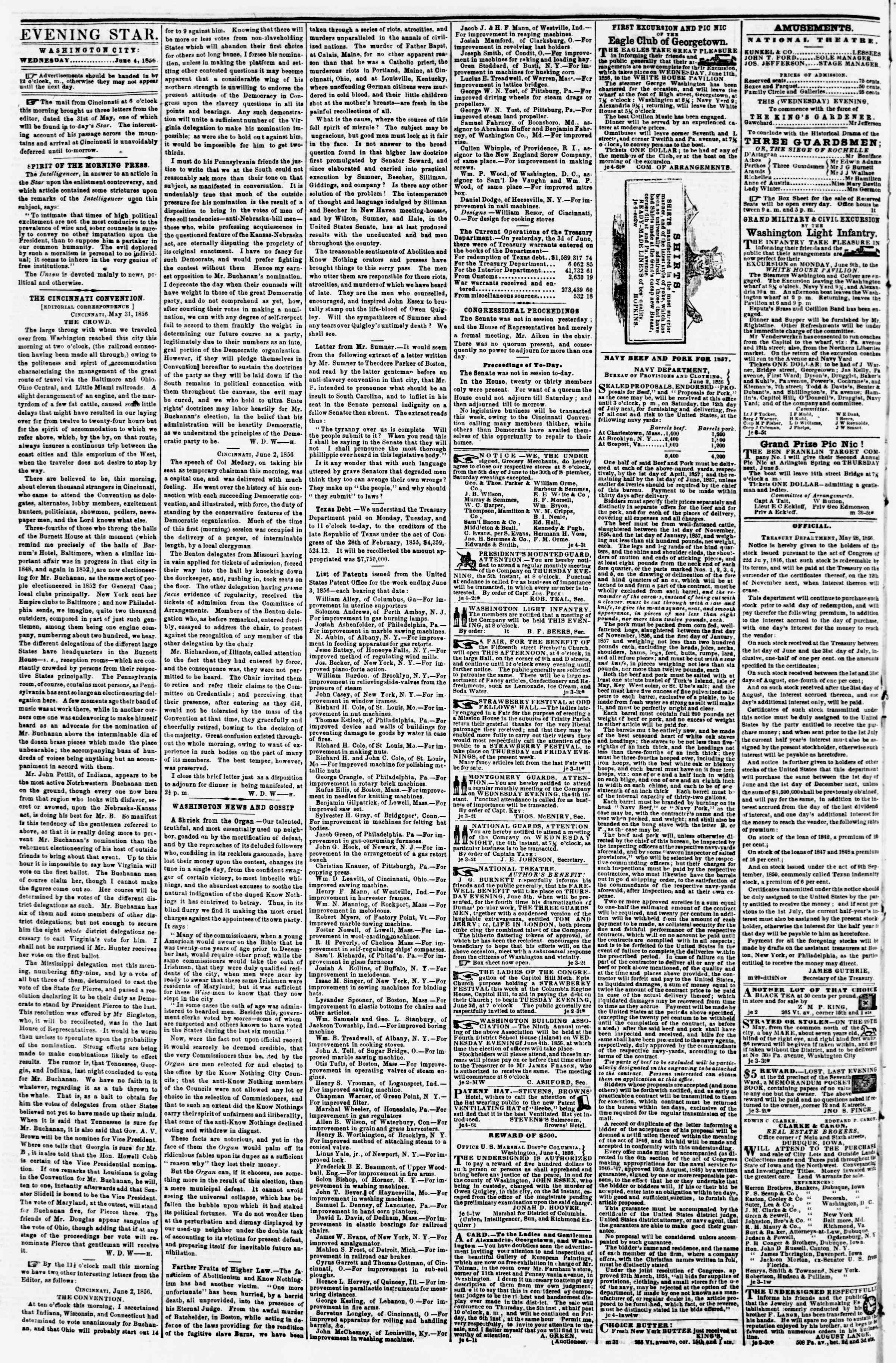 Newspaper of Evening Star dated June 4, 1856 Page 2