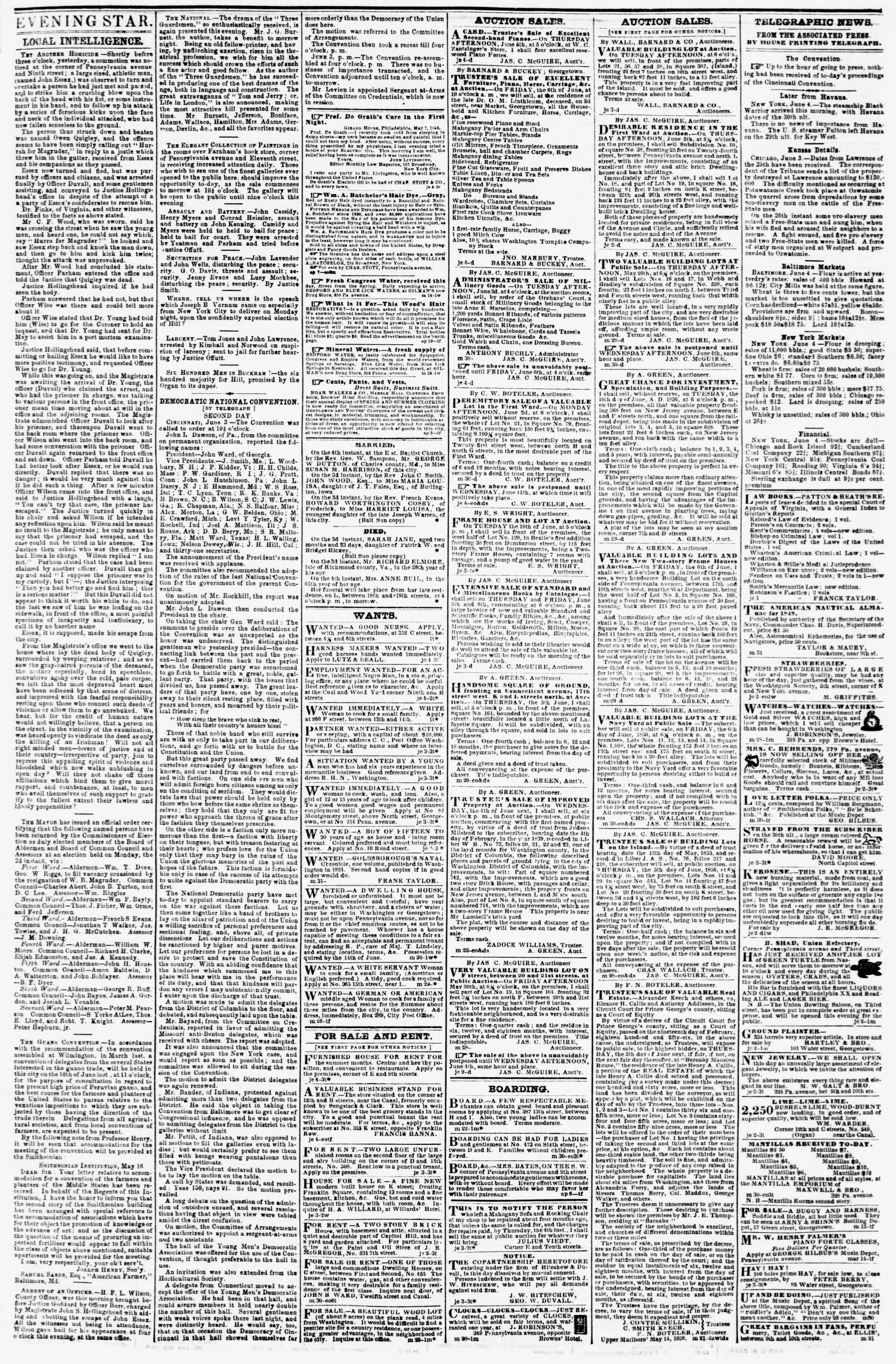Newspaper of Evening Star dated June 4, 1856 Page 3