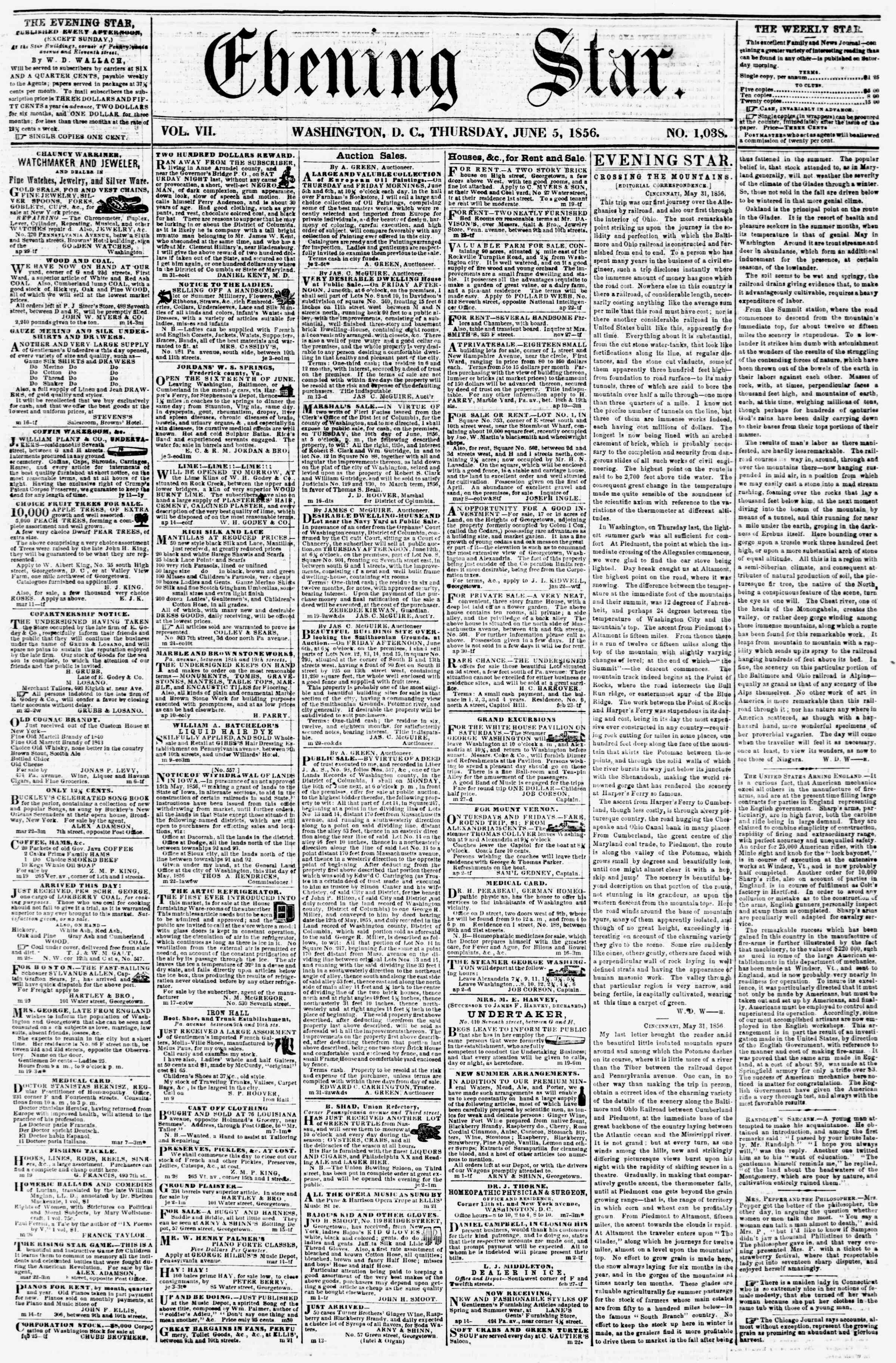 Newspaper of Evening Star dated June 5, 1856 Page 1