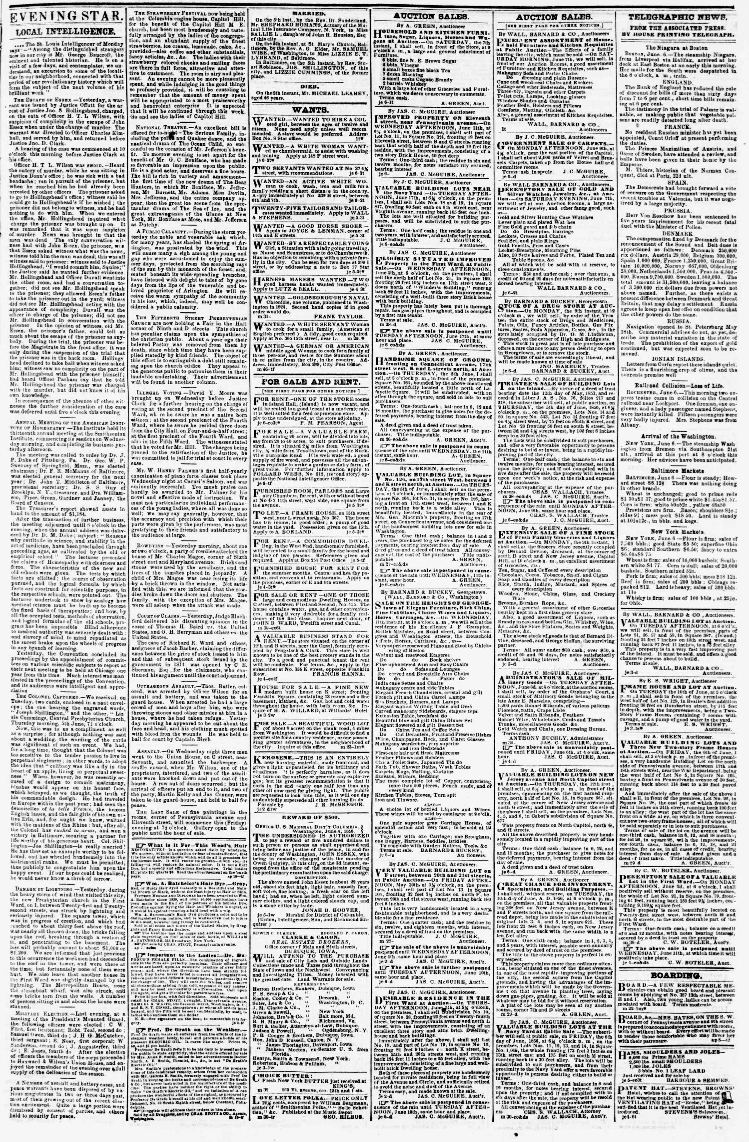 Newspaper of Evening Star dated June 6, 1856 Page 3