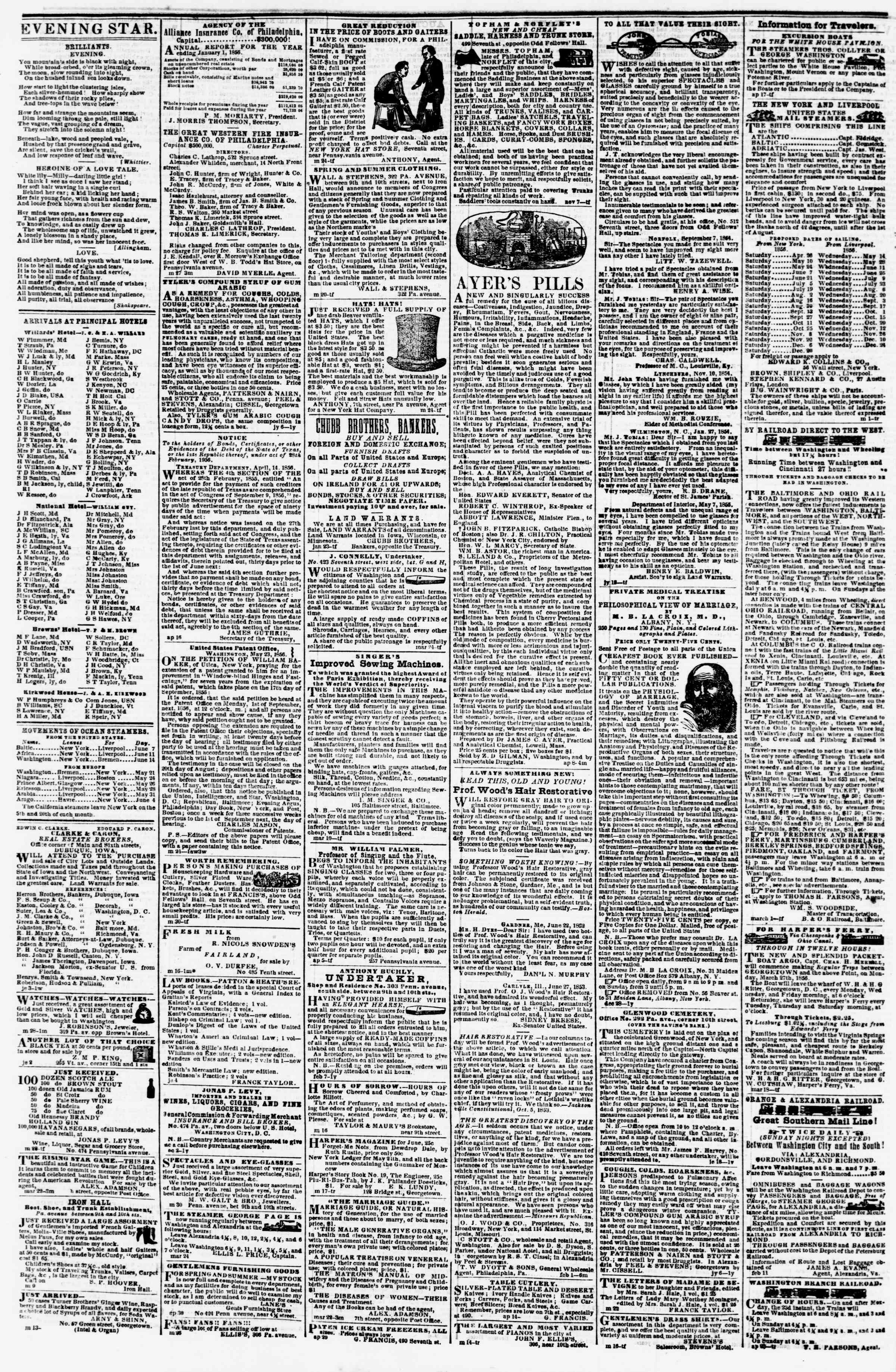 Newspaper of Evening Star dated June 7, 1856 Page 4