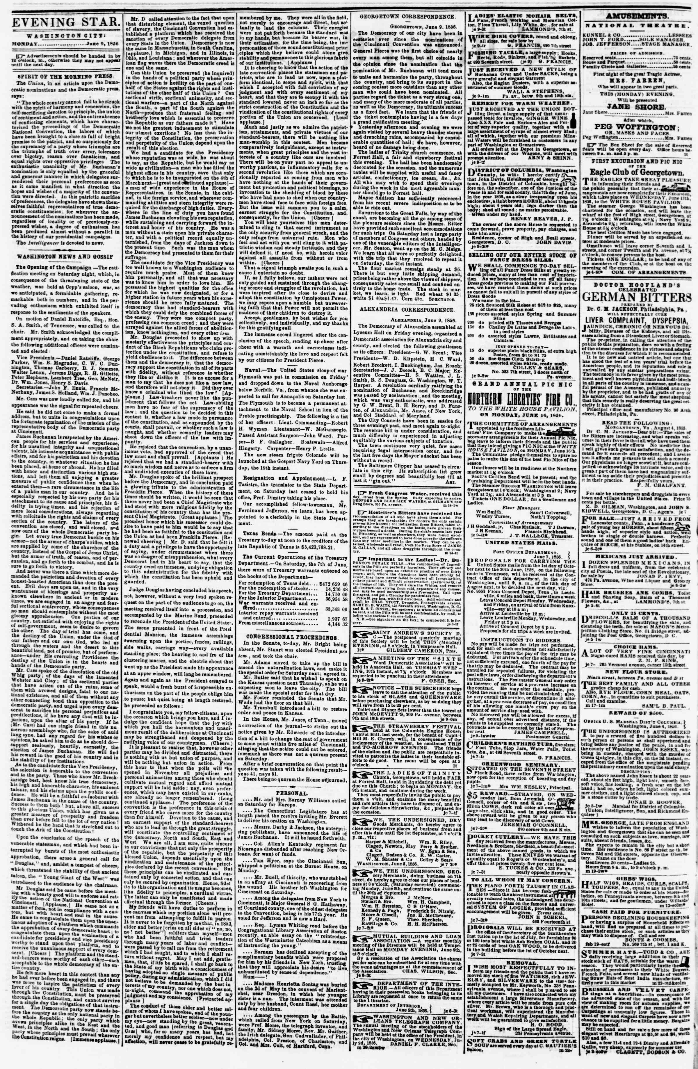 Newspaper of Evening Star dated June 9, 1856 Page 2