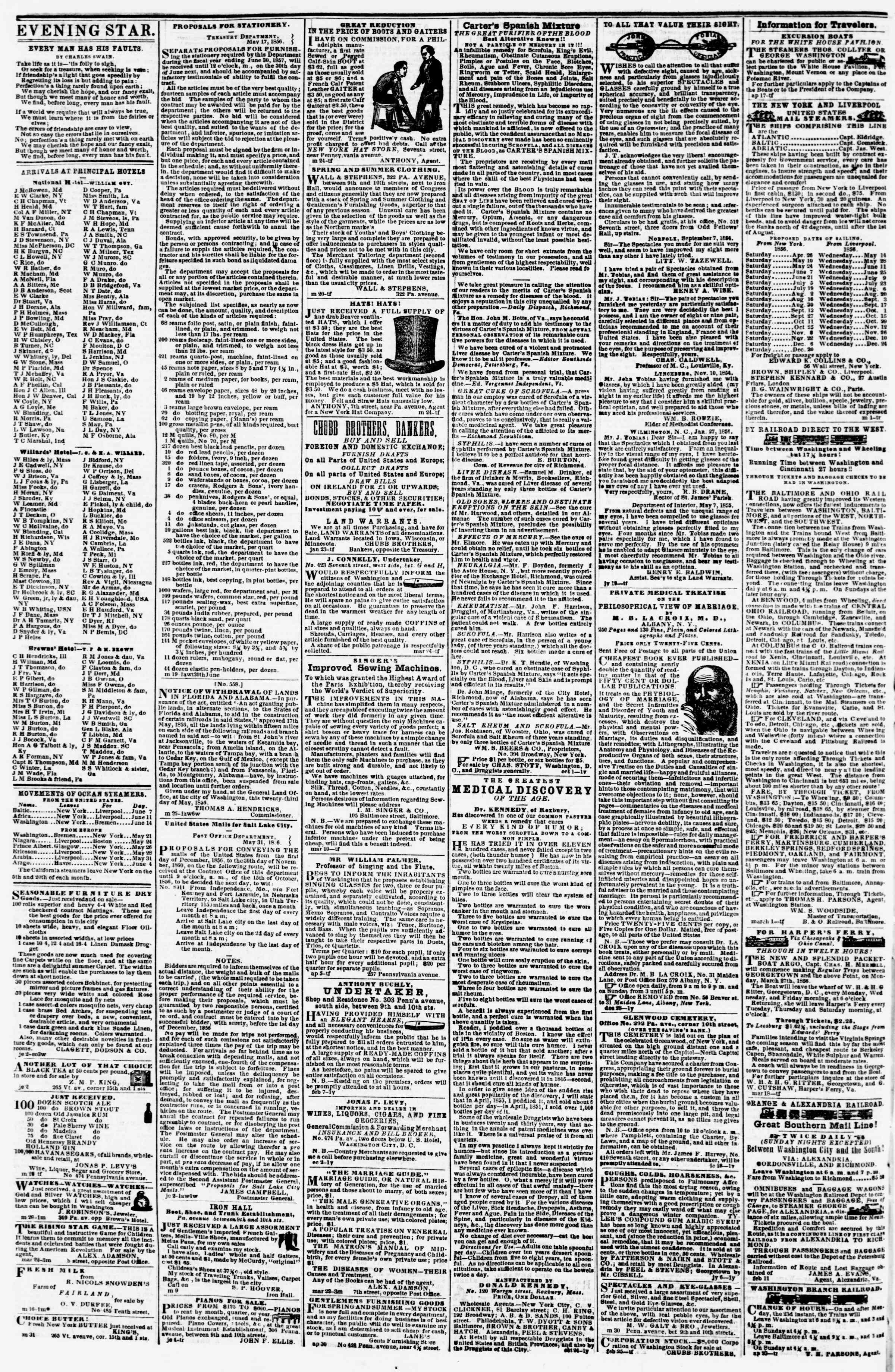 Newspaper of Evening Star dated June 9, 1856 Page 4