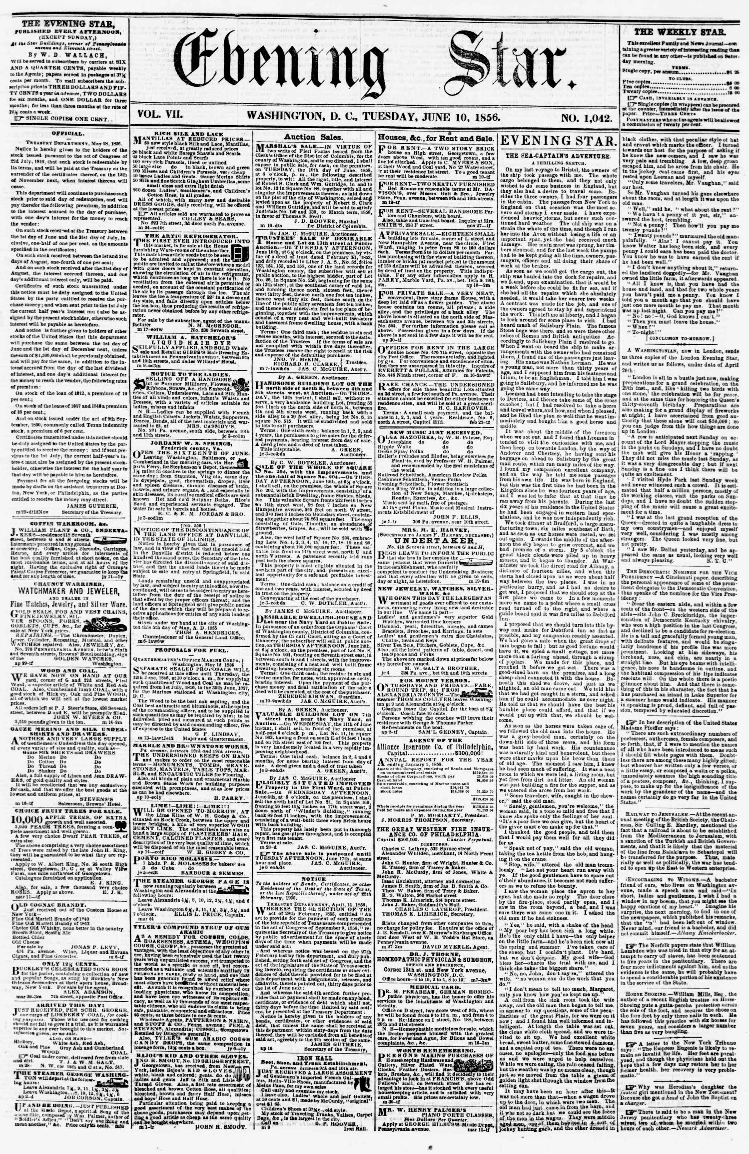 Newspaper of Evening Star dated June 10, 1856 Page 1