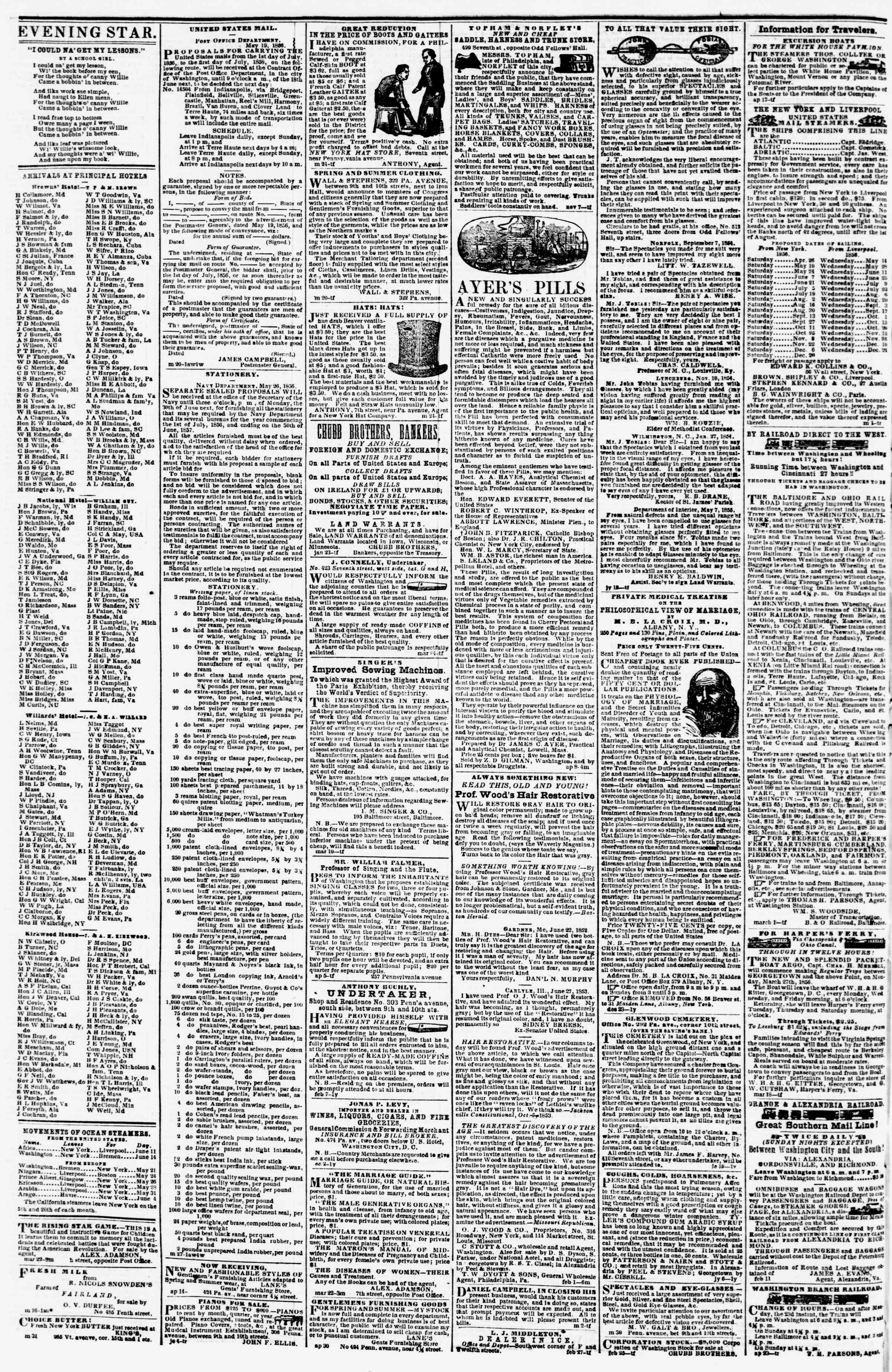 Newspaper of Evening Star dated June 10, 1856 Page 4