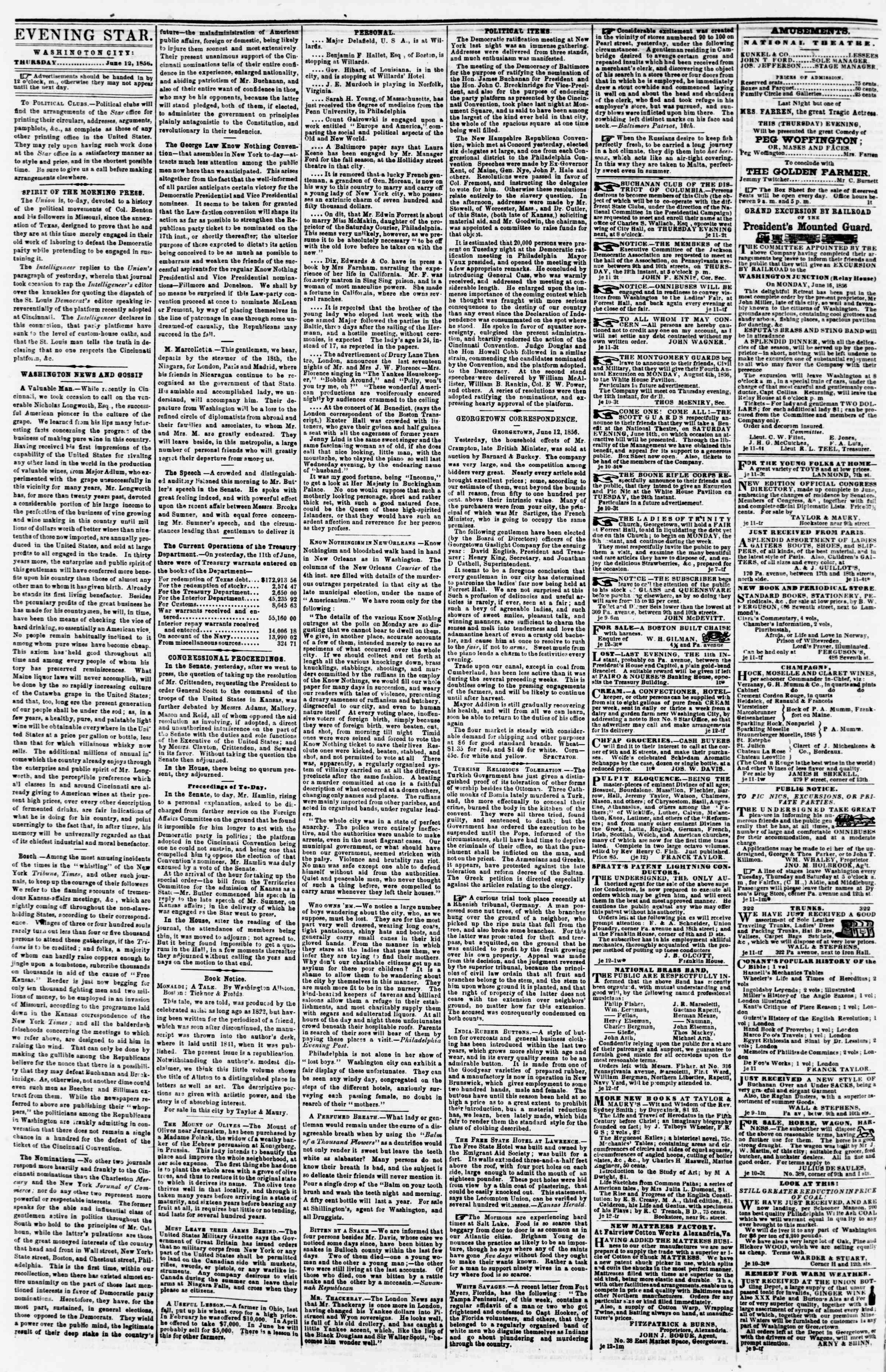 Newspaper of Evening Star dated June 12, 1856 Page 2