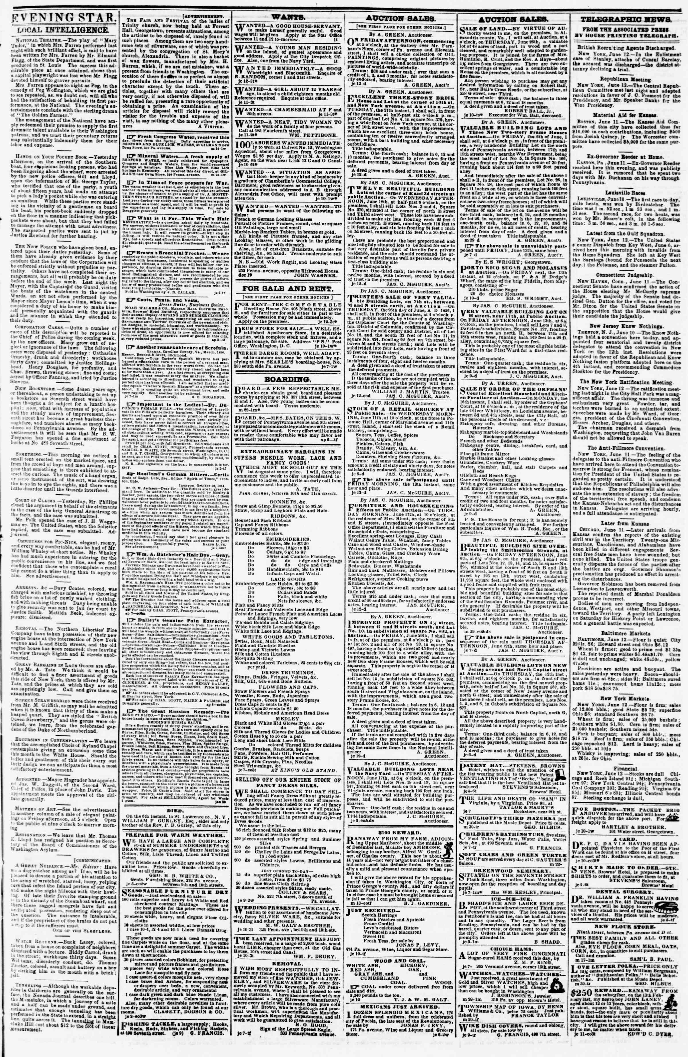 Newspaper of Evening Star dated June 12, 1856 Page 3