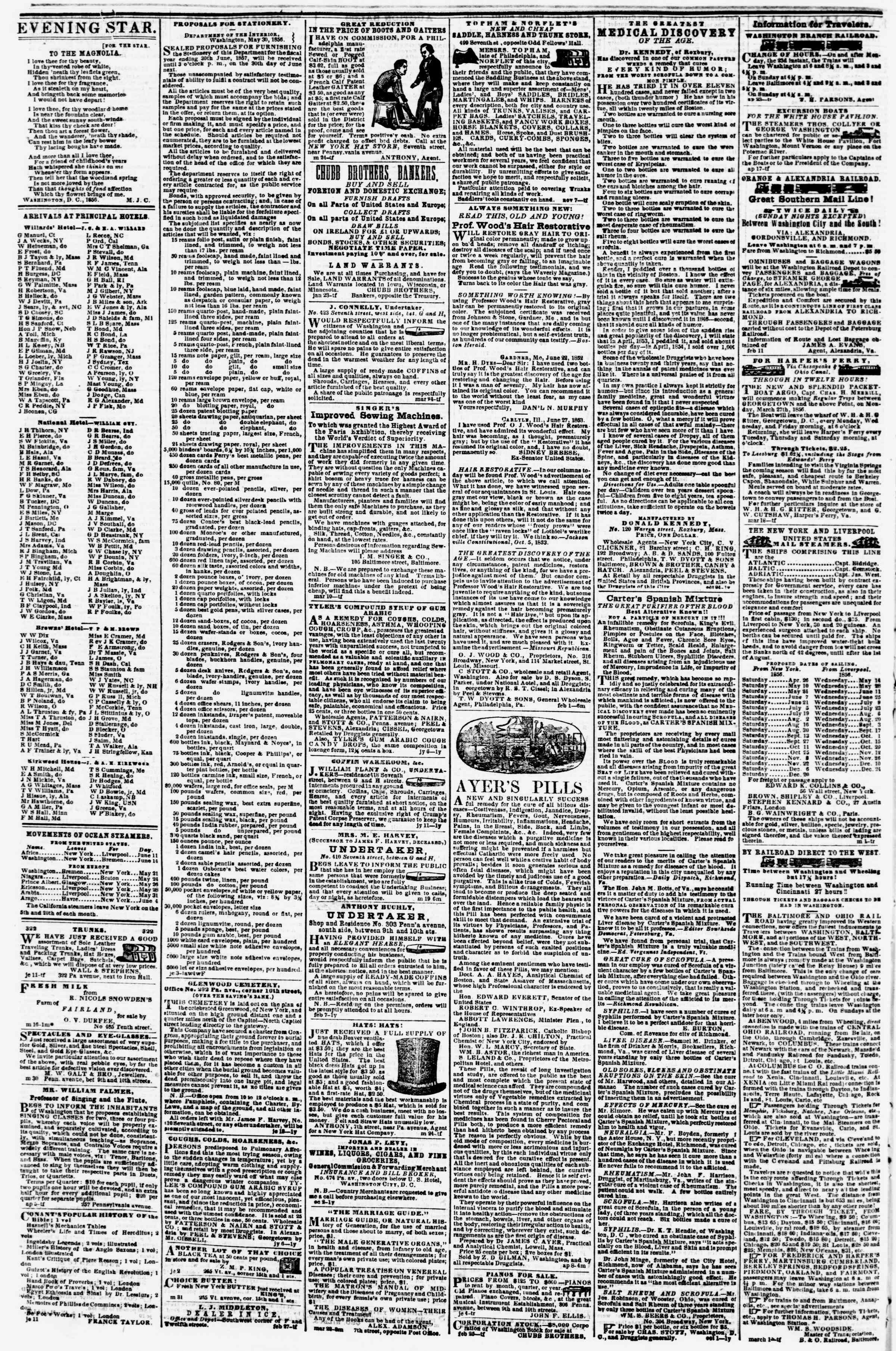 Newspaper of Evening Star dated June 13, 1856 Page 4