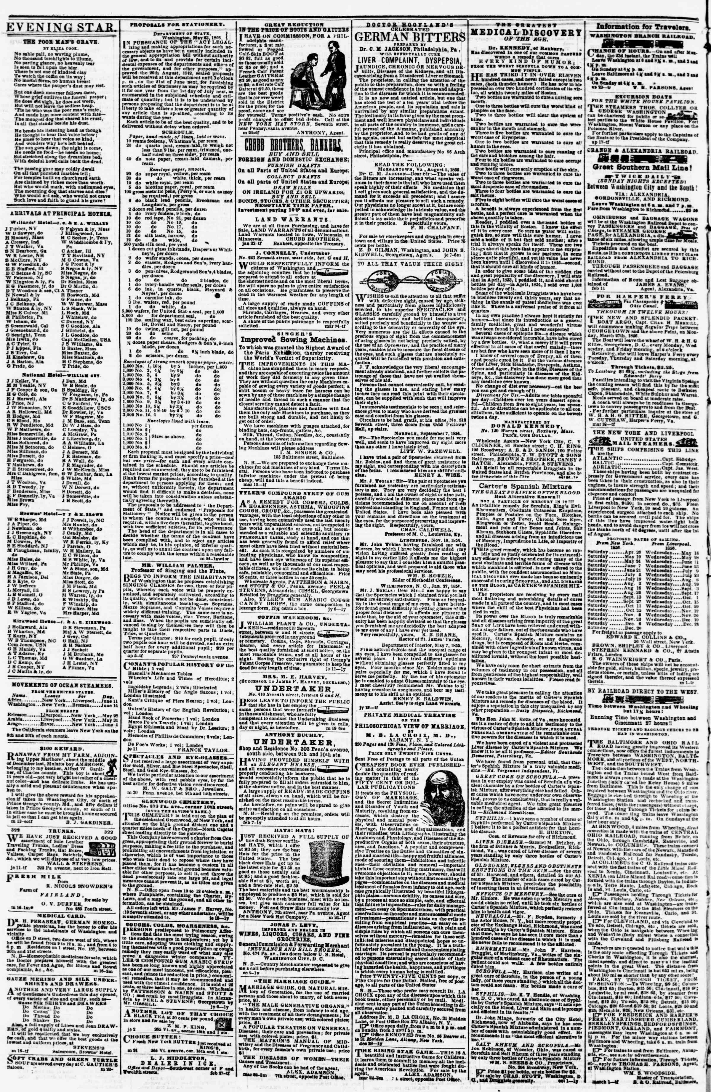 Newspaper of Evening Star dated June 14, 1856 Page 4