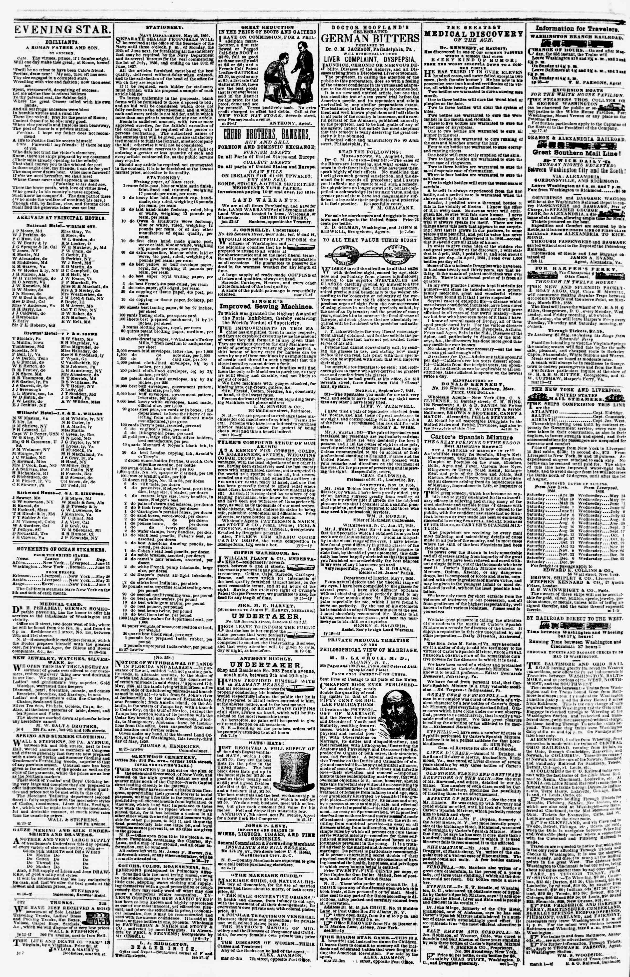 Newspaper of Evening Star dated June 17, 1856 Page 4
