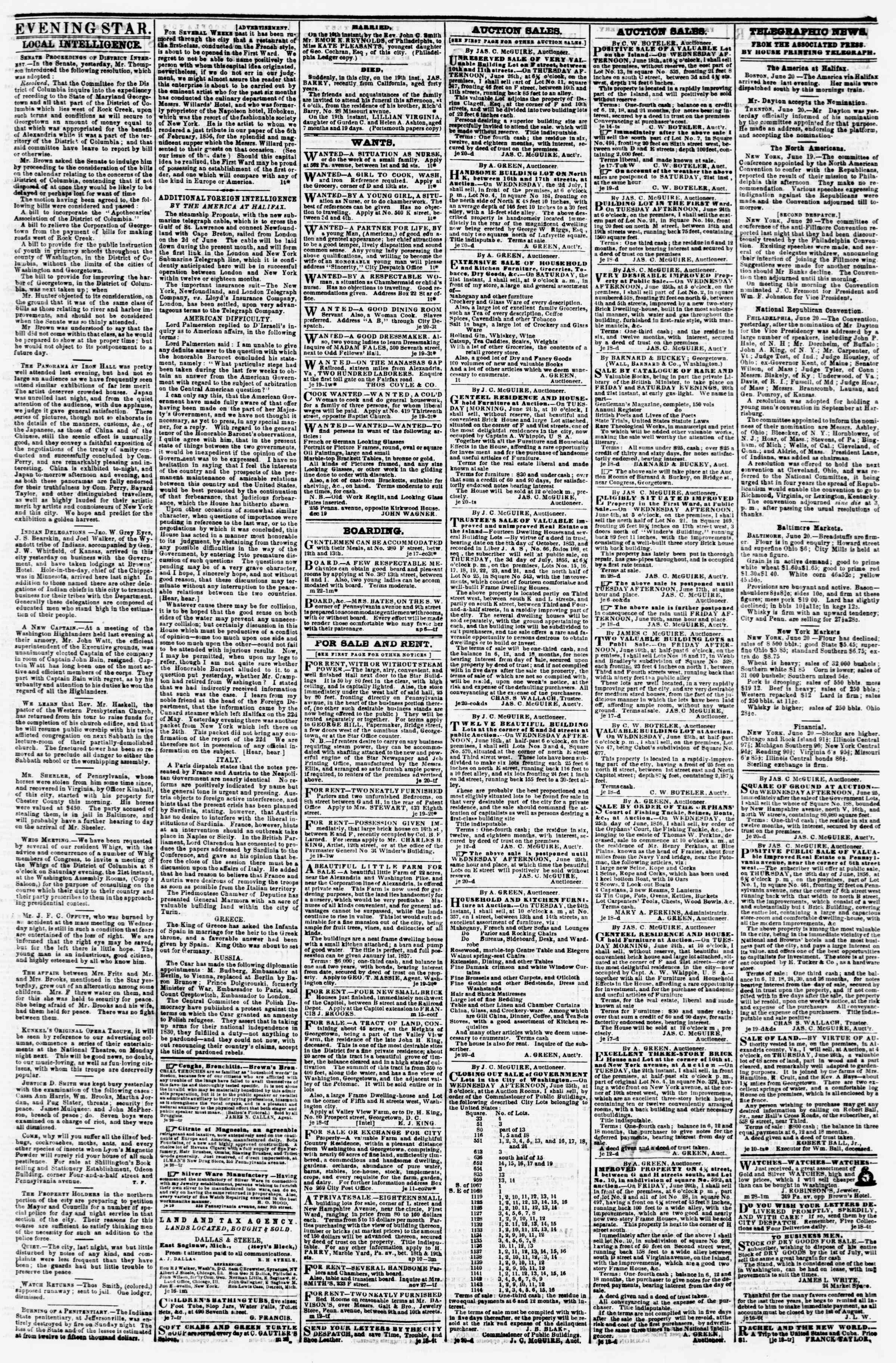 Newspaper of Evening Star dated June 20, 1856 Page 3