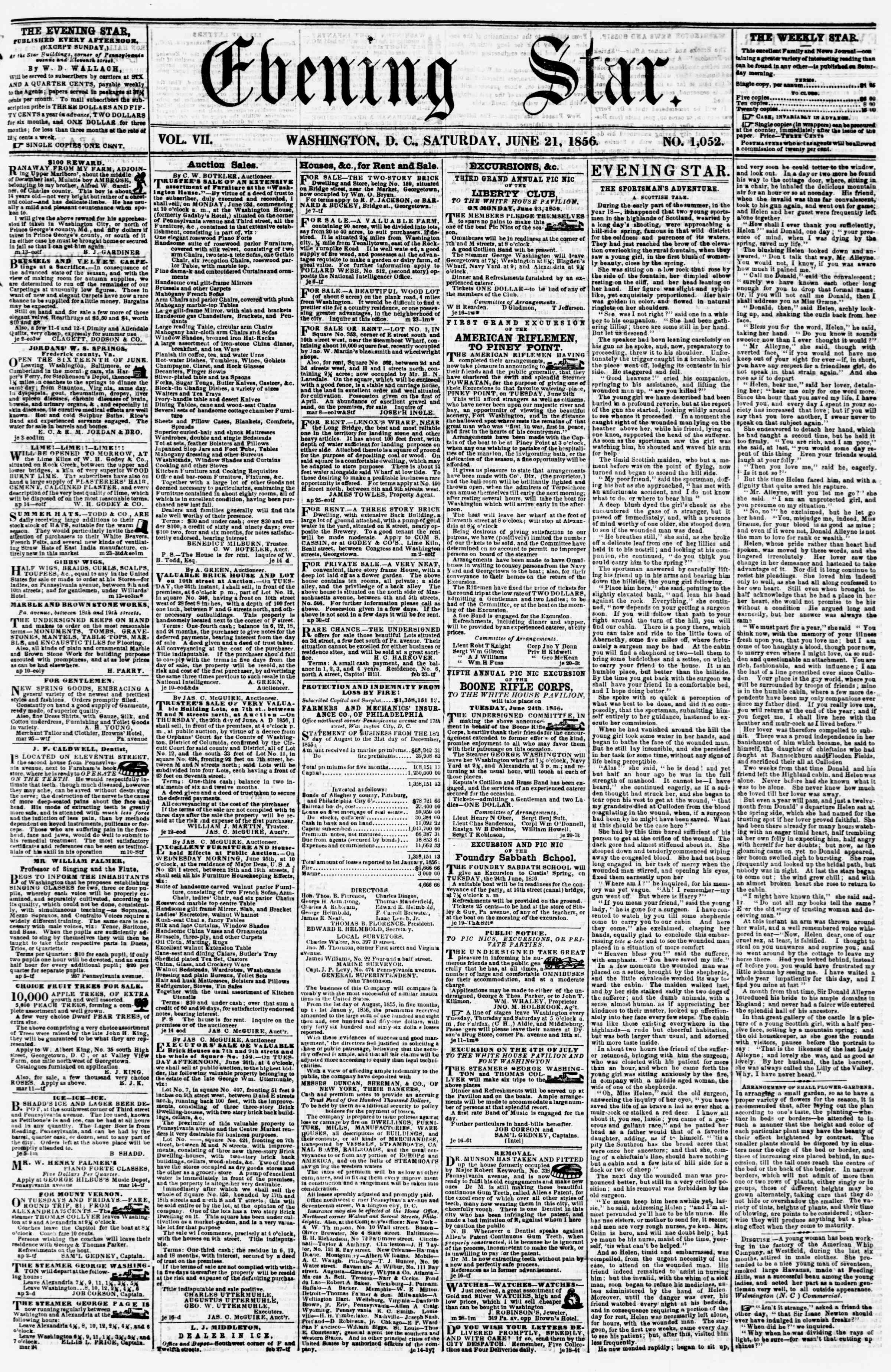 Newspaper of Evening Star dated June 21, 1856 Page 1