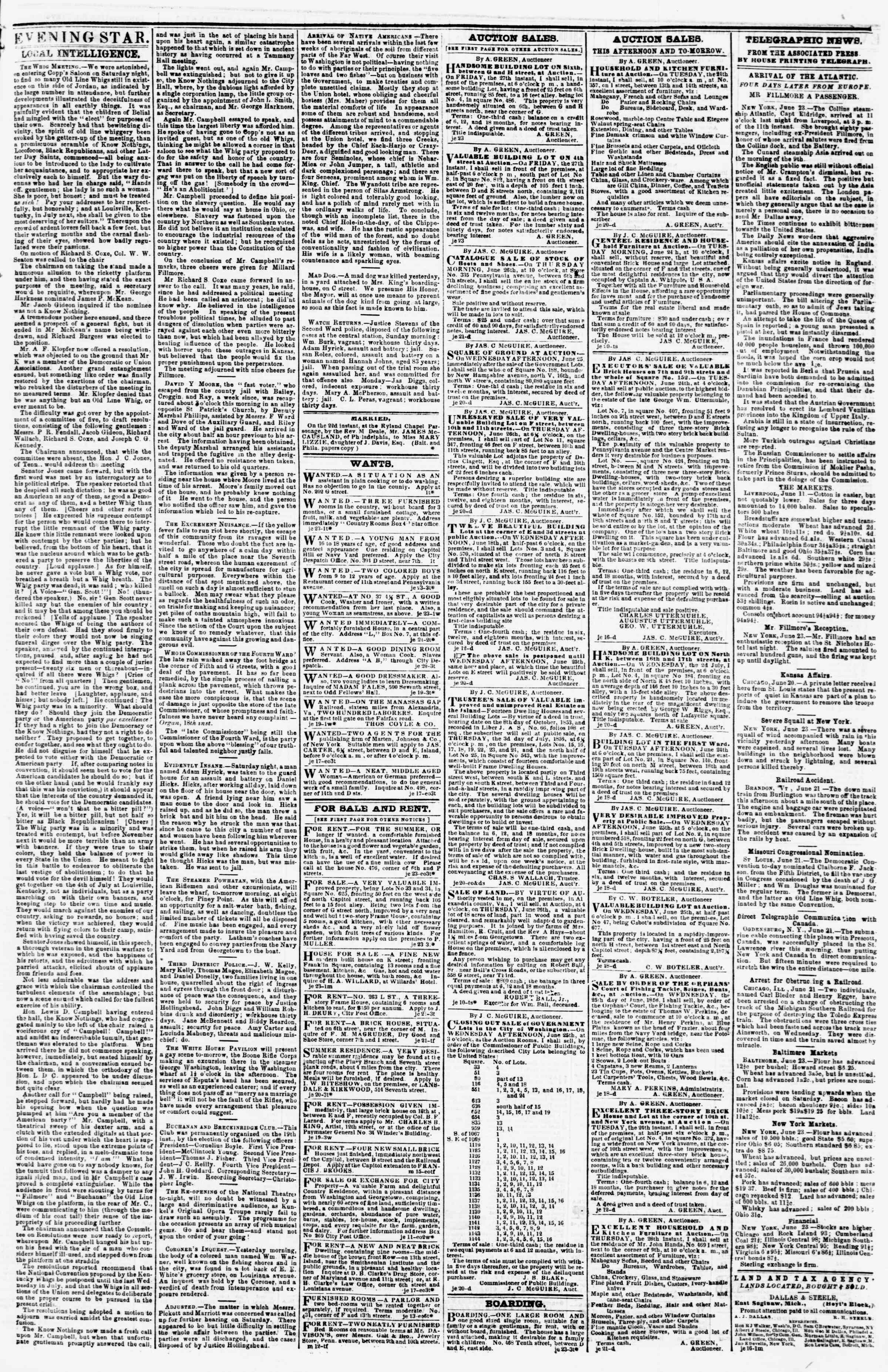 Newspaper of Evening Star dated 23 Haziran 1856 Page 3