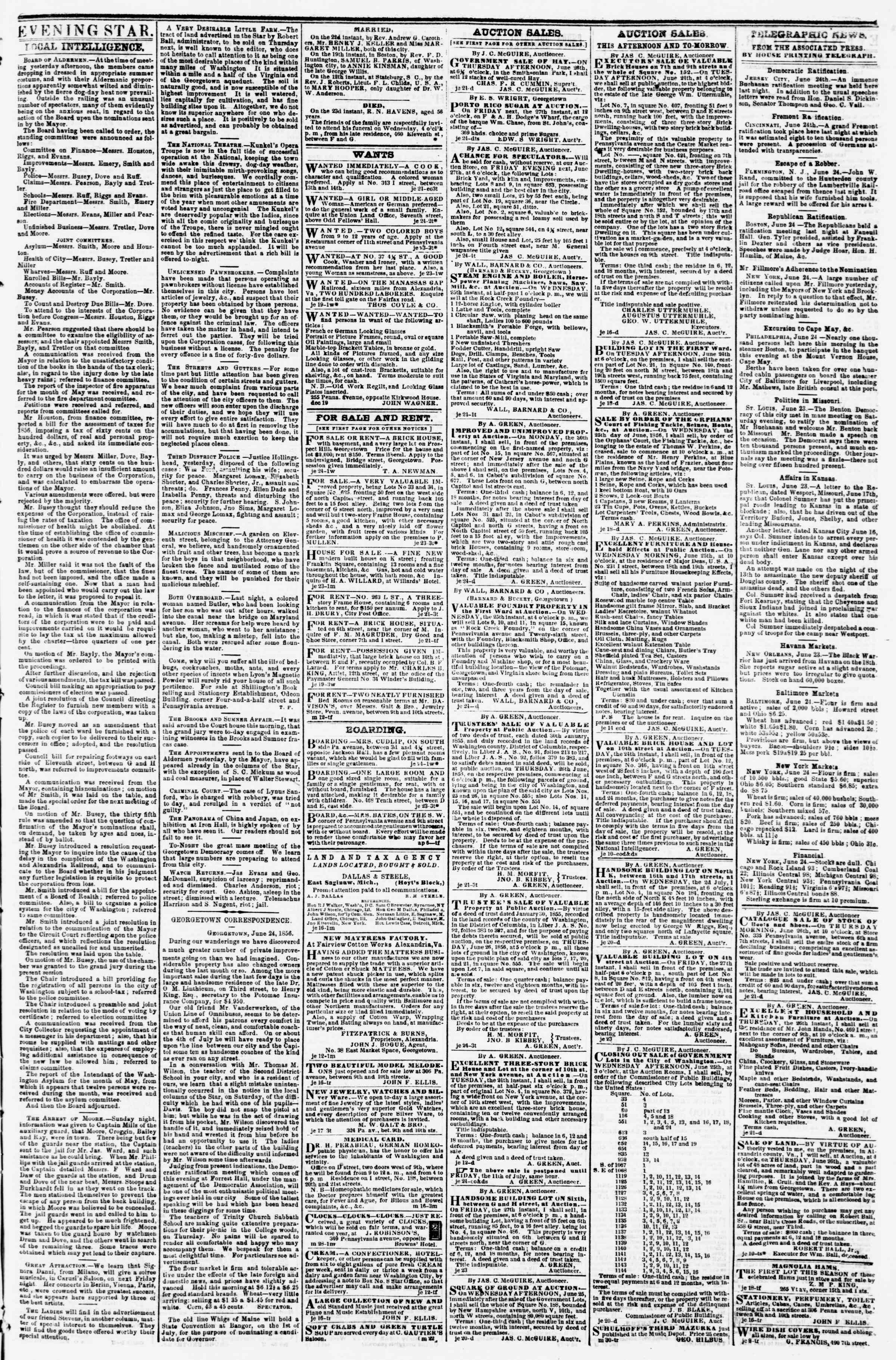 Newspaper of Evening Star dated June 24, 1856 Page 3