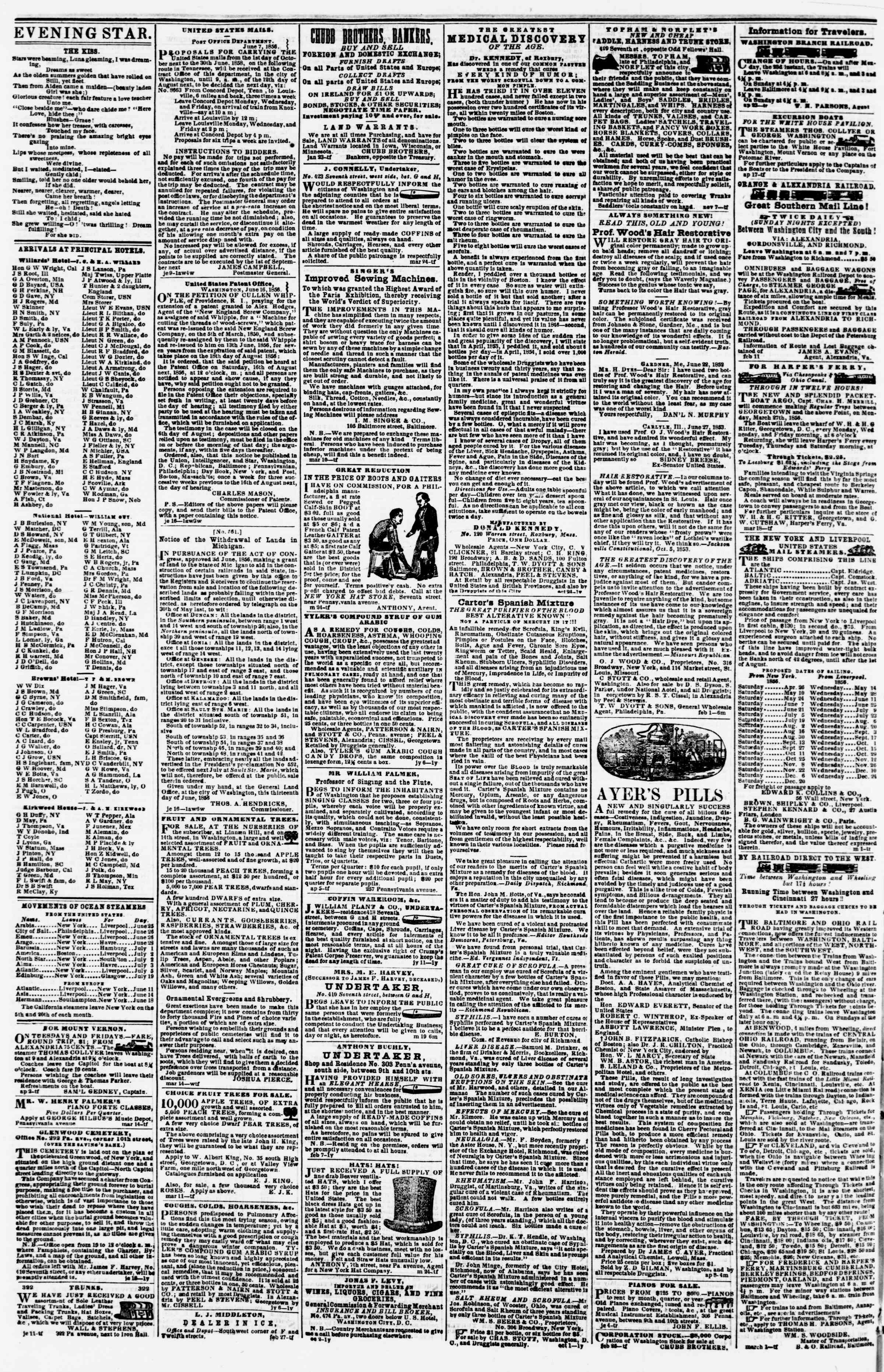 Newspaper of Evening Star dated June 24, 1856 Page 4