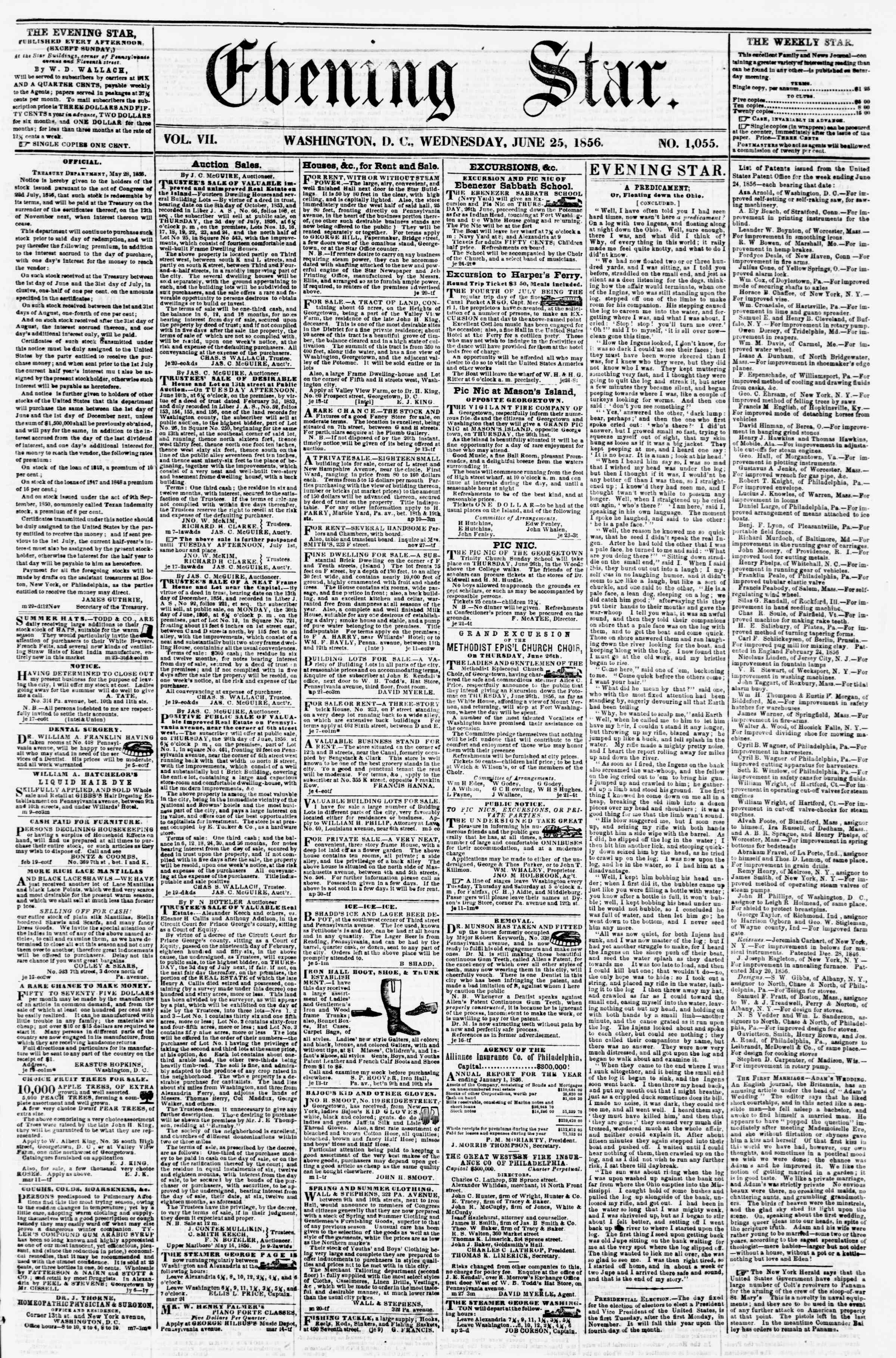 Newspaper of Evening Star dated June 25, 1856 Page 1