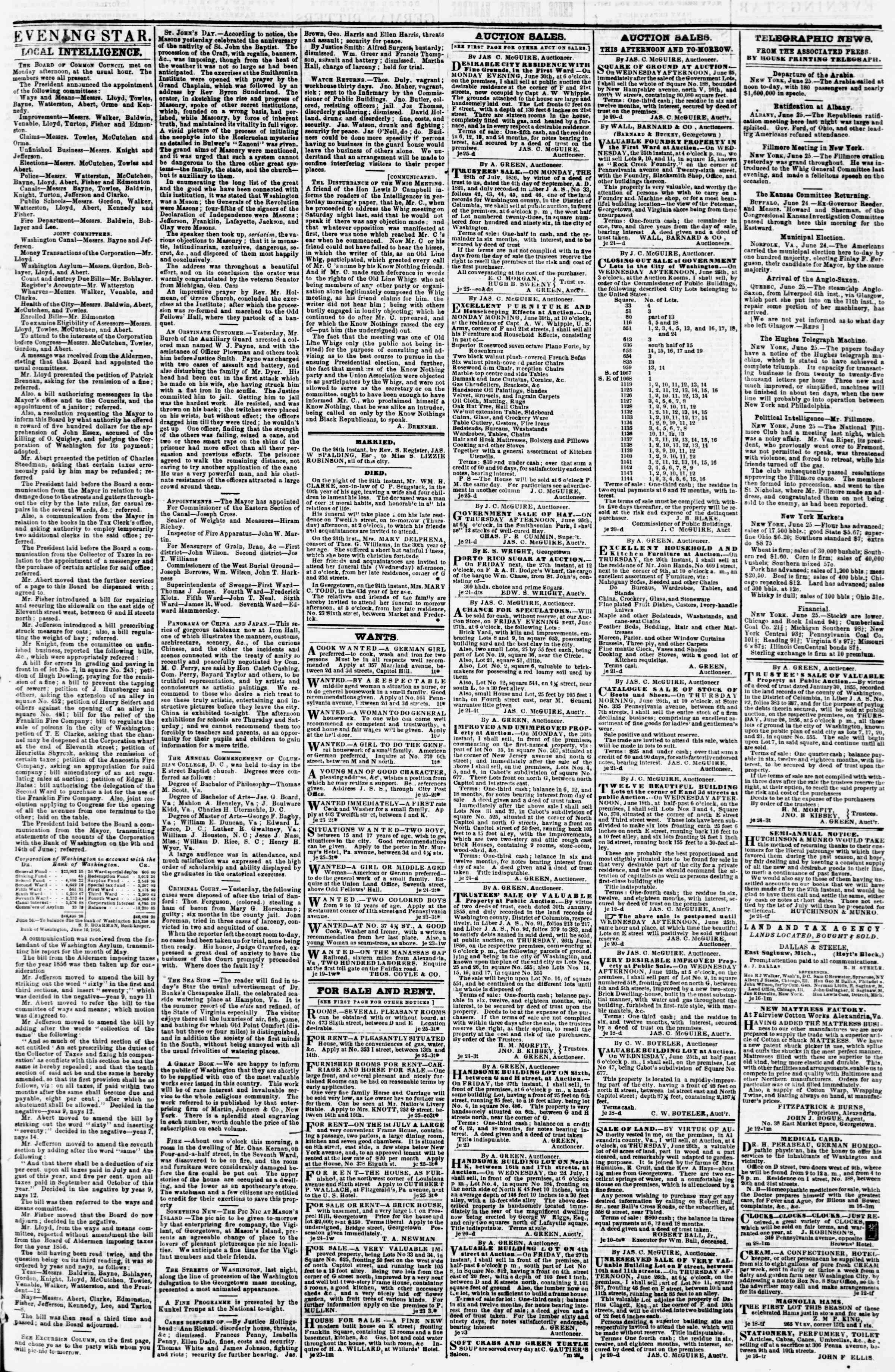 Newspaper of Evening Star dated June 25, 1856 Page 3
