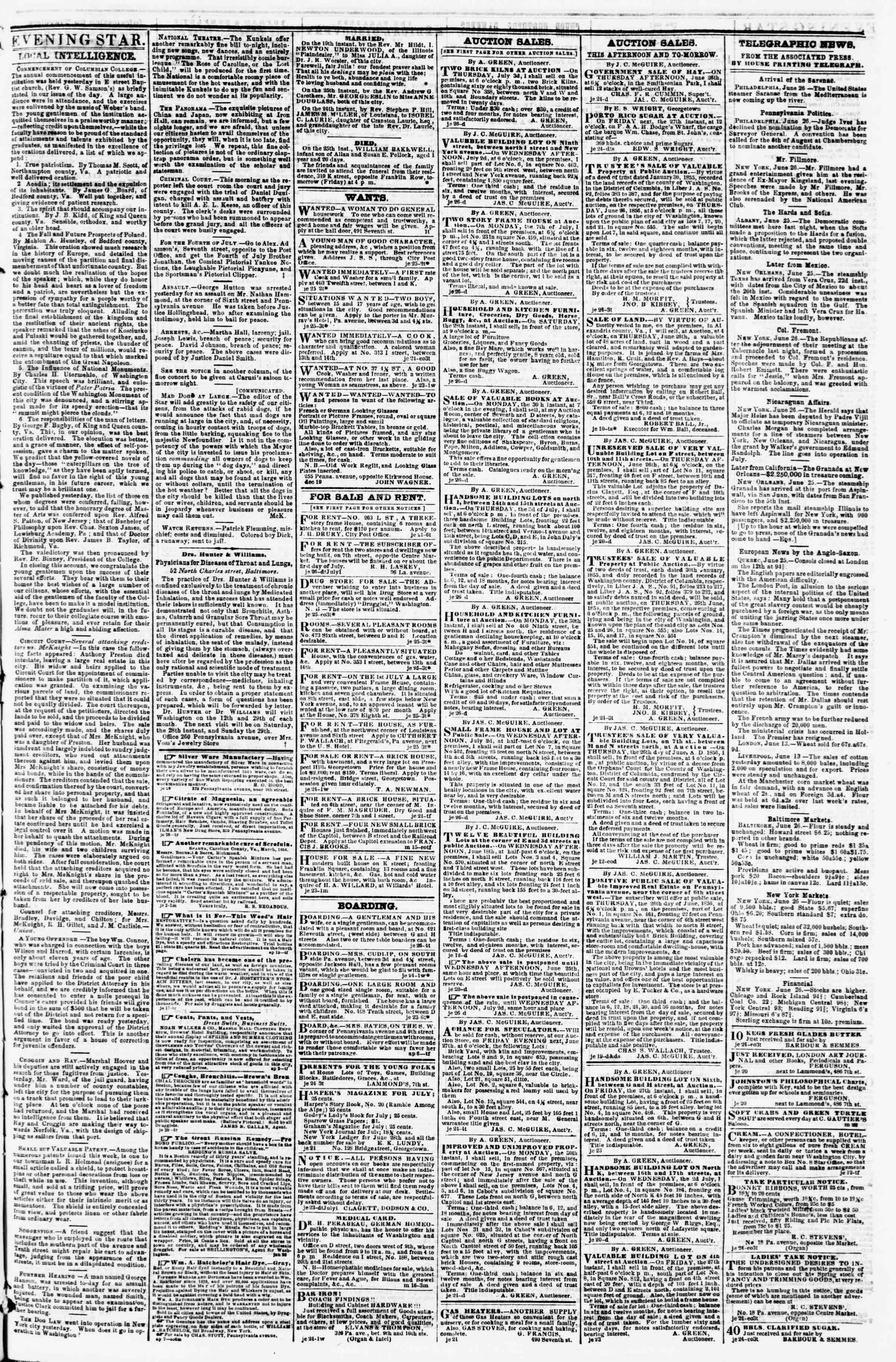 Newspaper of Evening Star dated June 26, 1856 Page 3