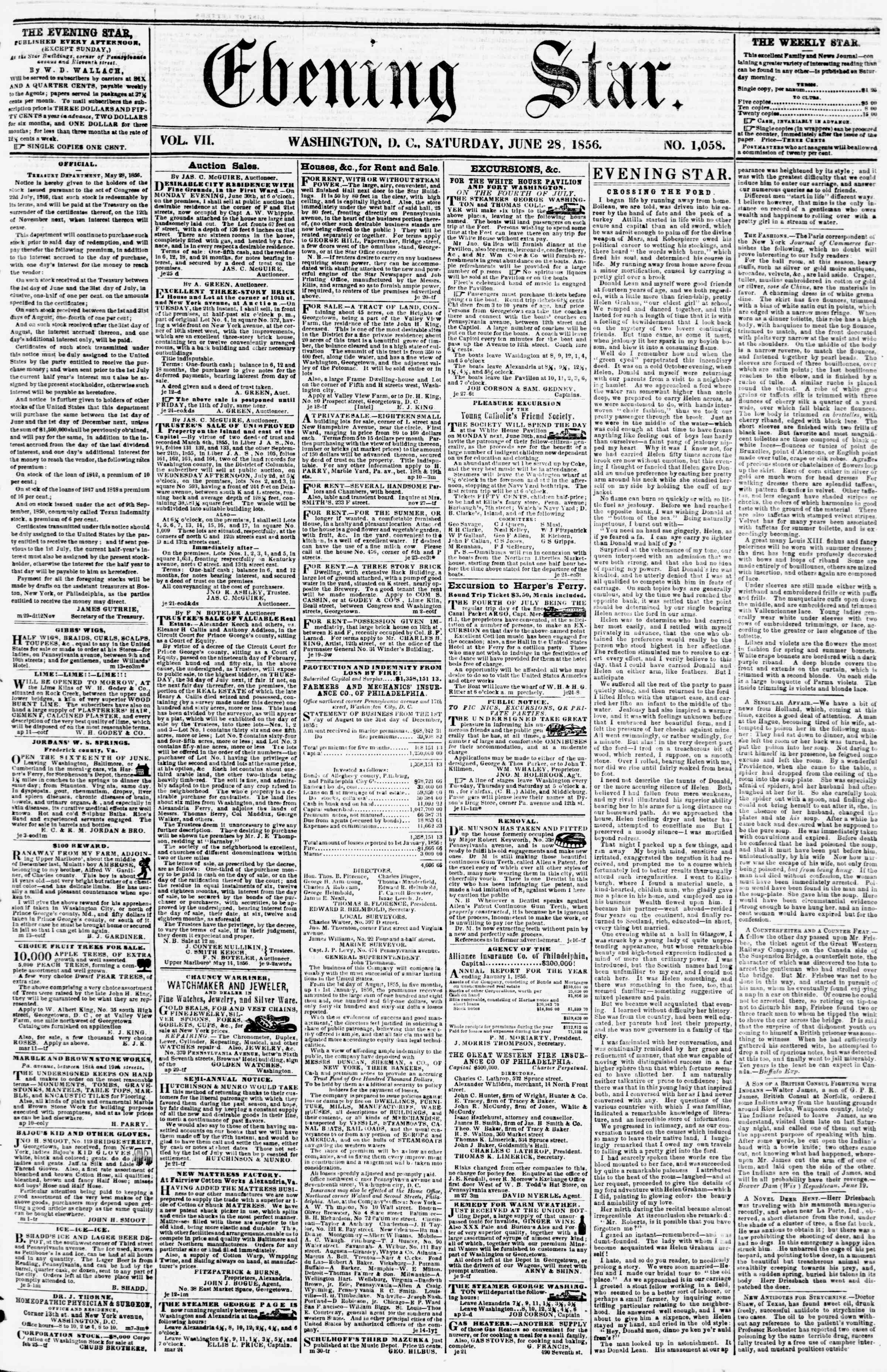Newspaper of Evening Star dated June 28, 1856 Page 1