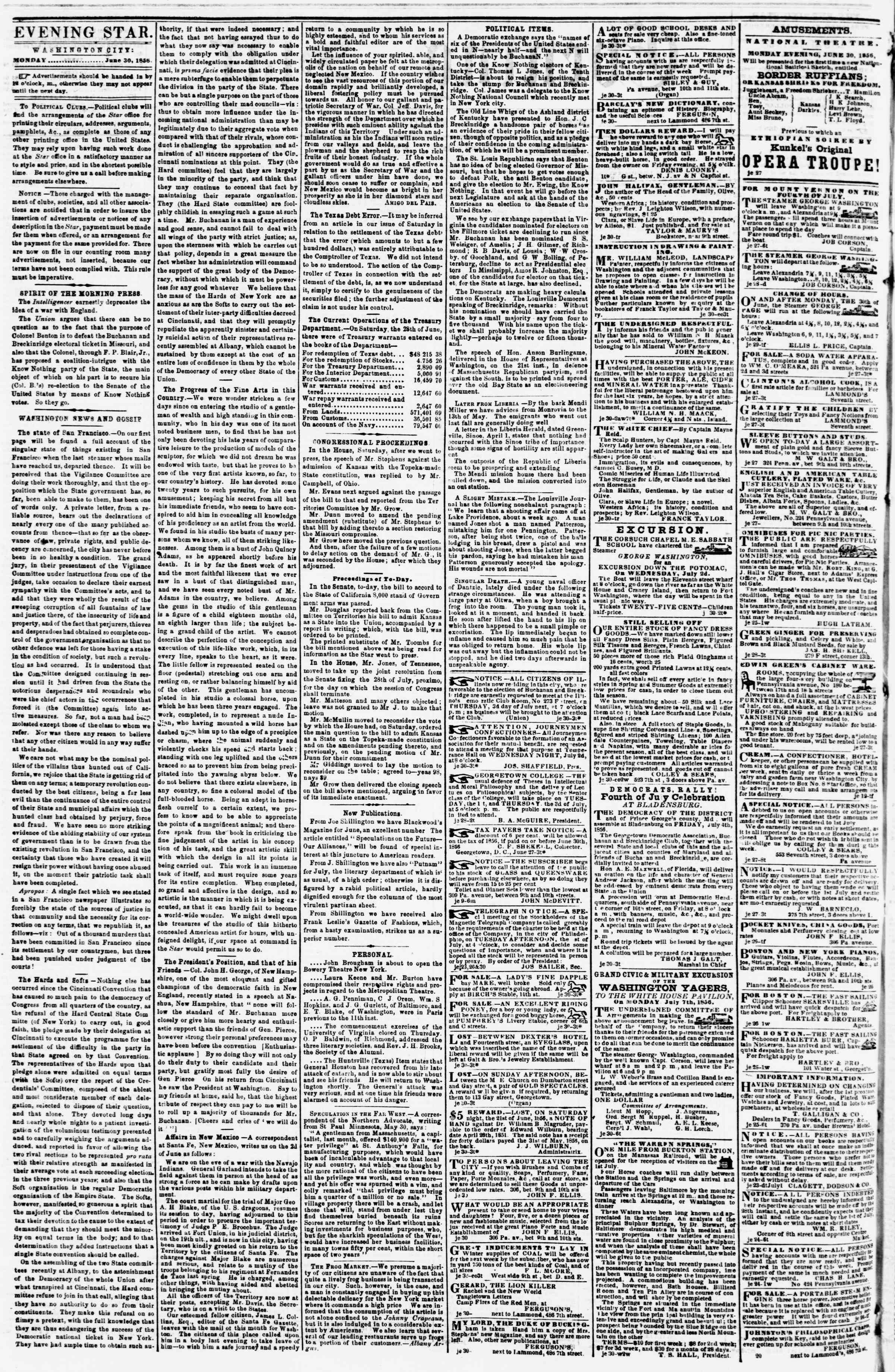 Newspaper of Evening Star dated June 30, 1856 Page 2