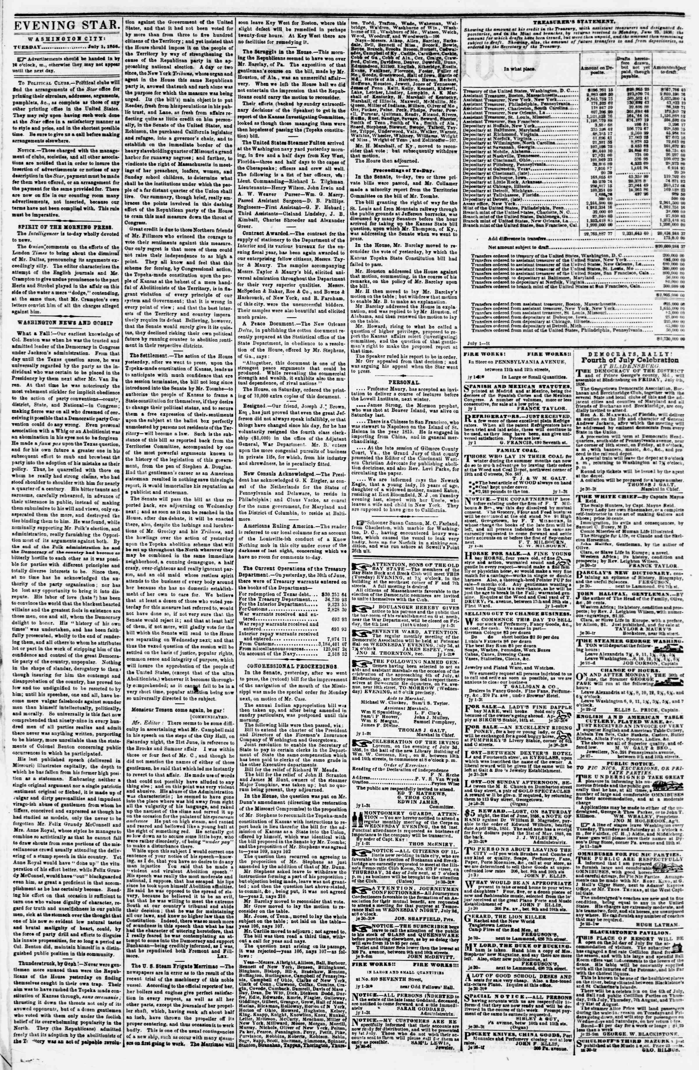 Newspaper of Evening Star dated July 1, 1856 Page 4