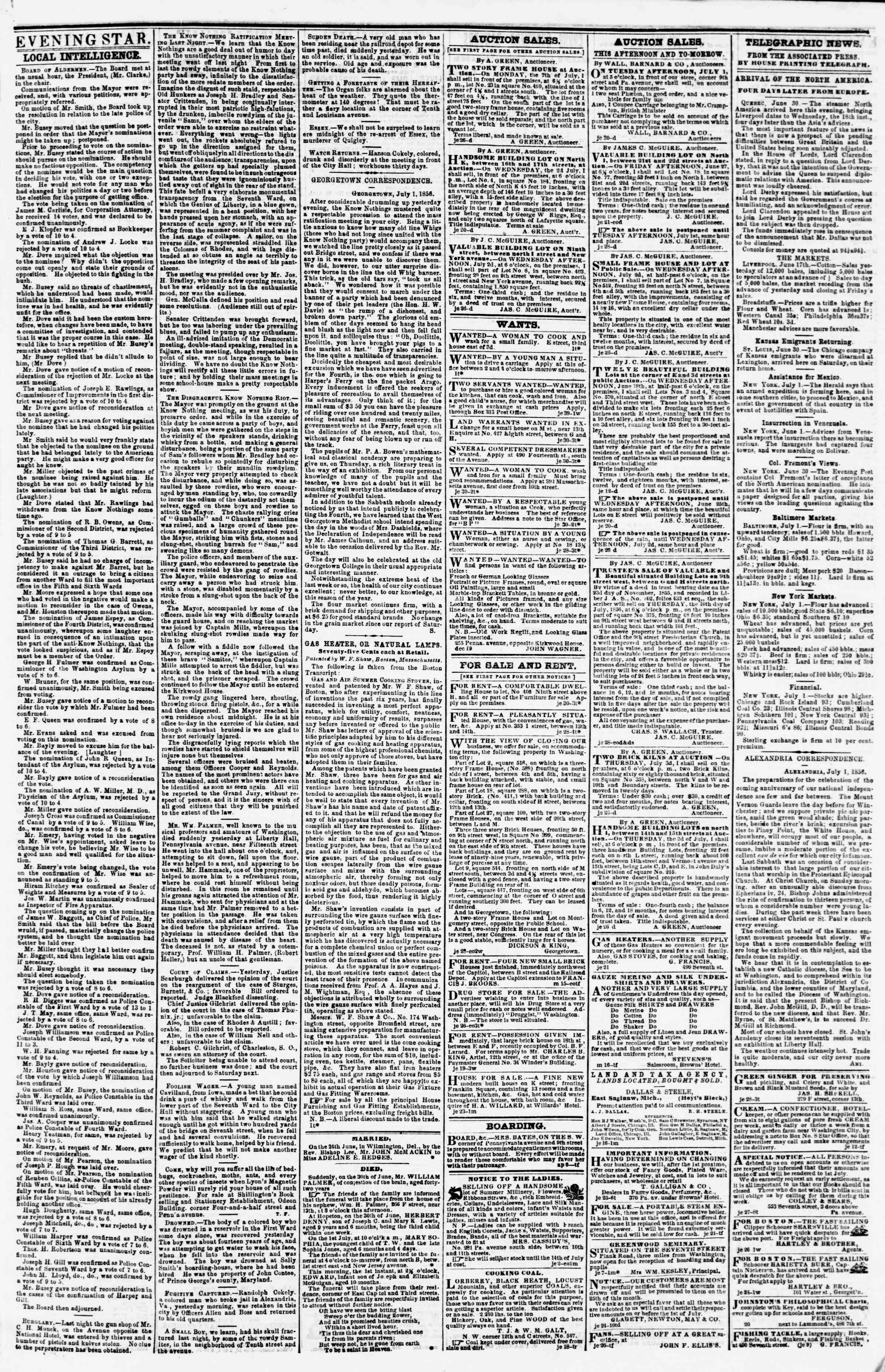 Newspaper of Evening Star dated July 1, 1856 Page 5