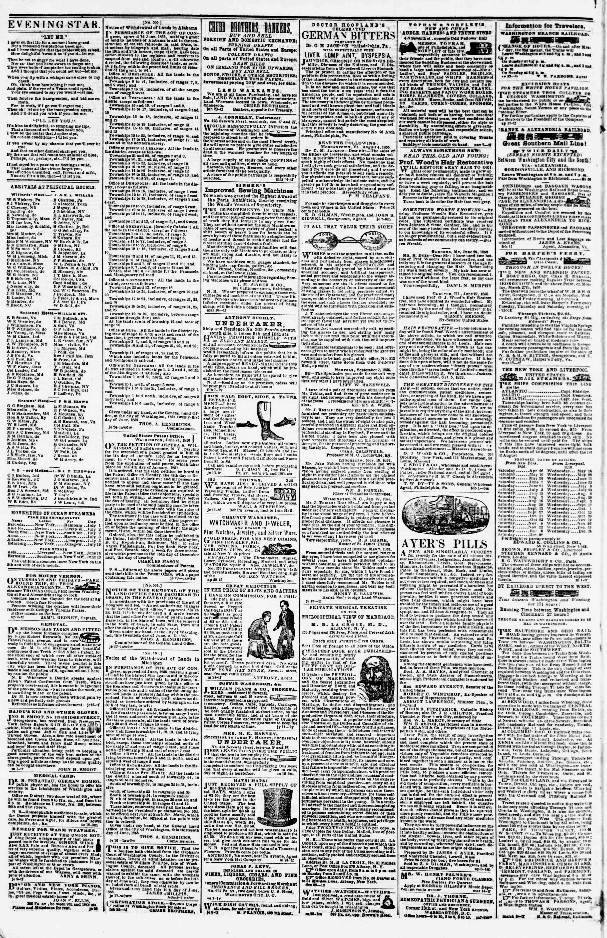 Newspaper of Evening Star dated July 1, 1856 Page 7