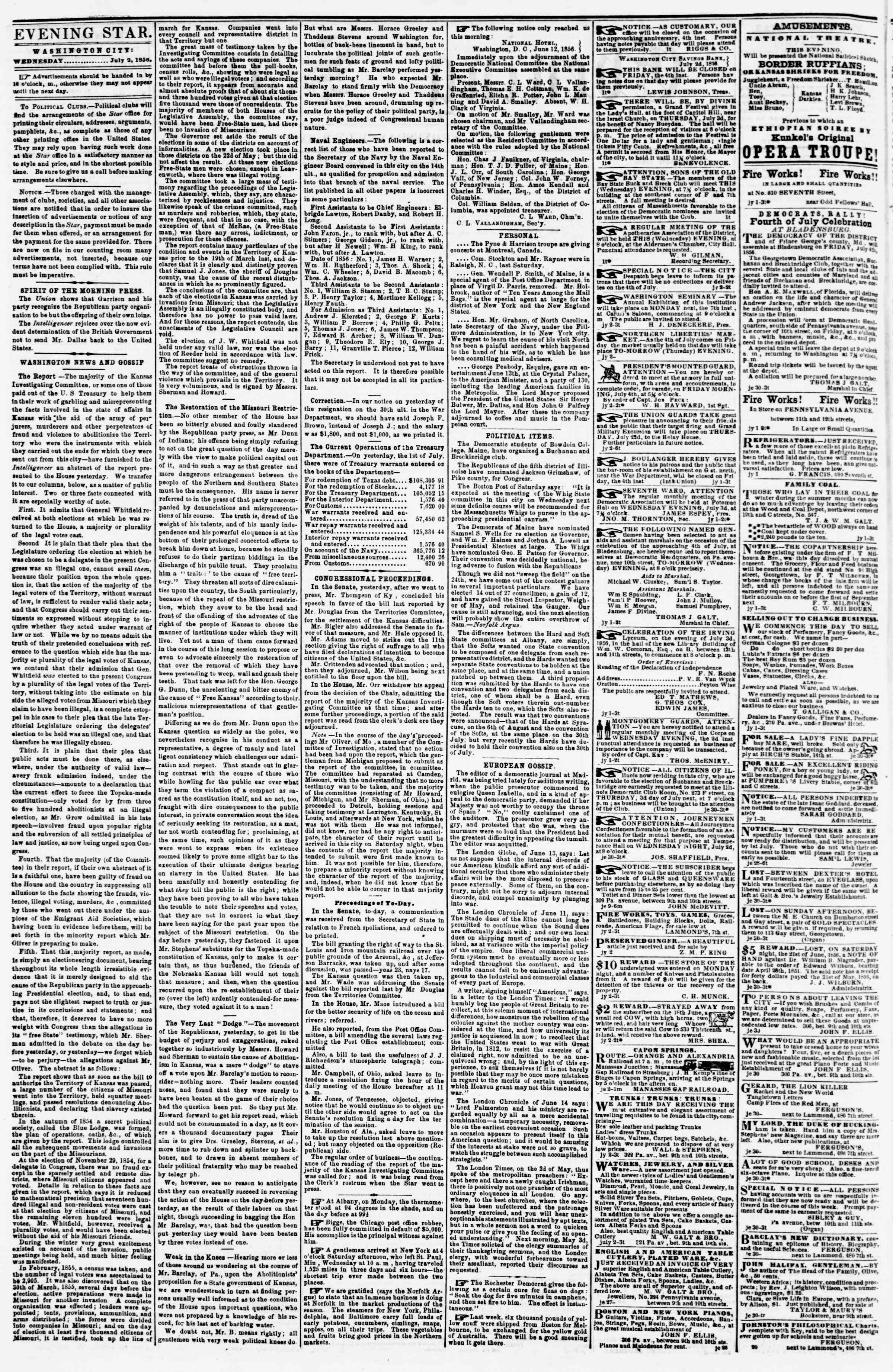 Newspaper of Evening Star dated July 2, 1856 Page 2
