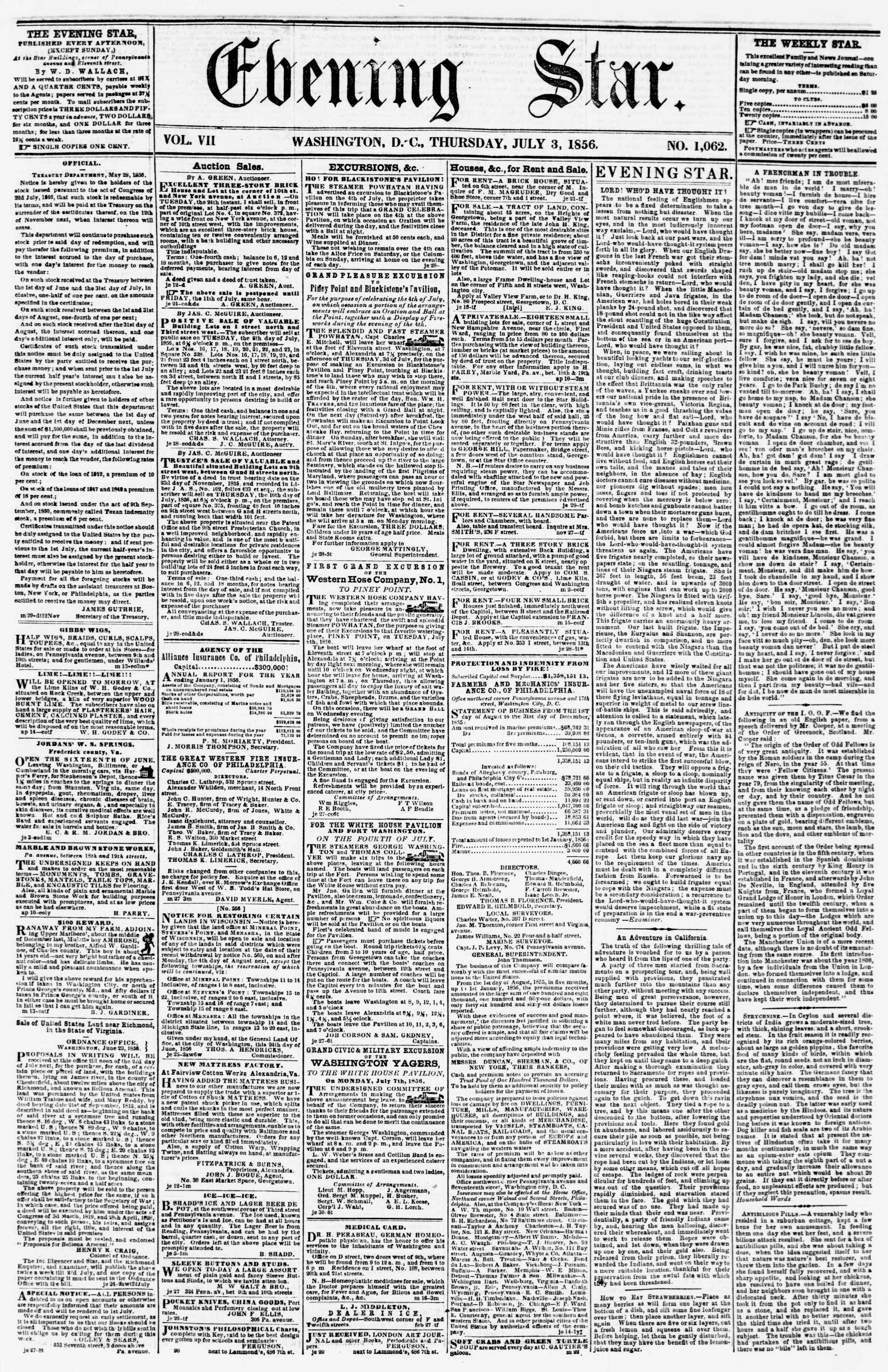 Newspaper of Evening Star dated July 3, 1856 Page 1