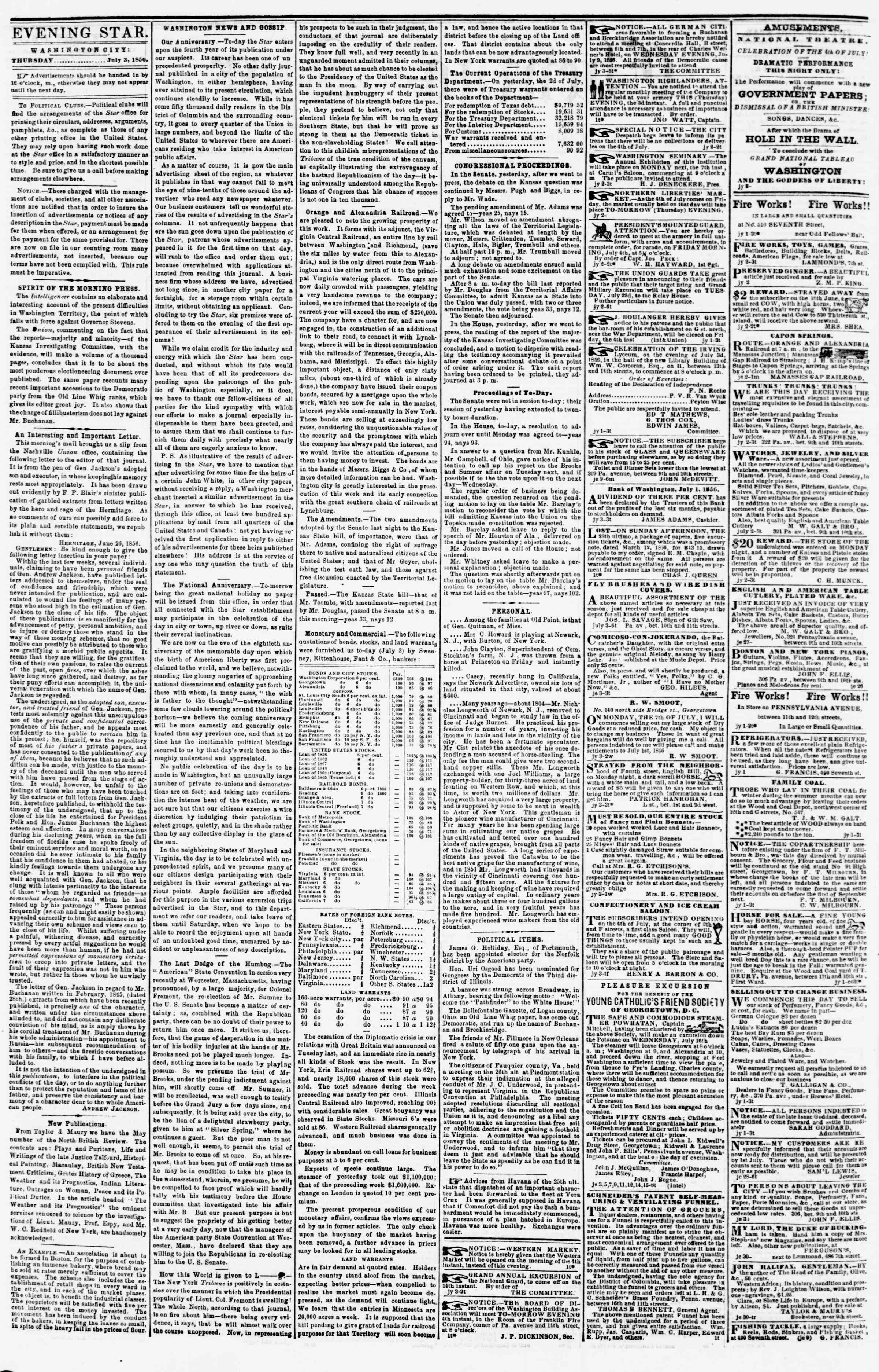 Newspaper of Evening Star dated July 3, 1856 Page 2
