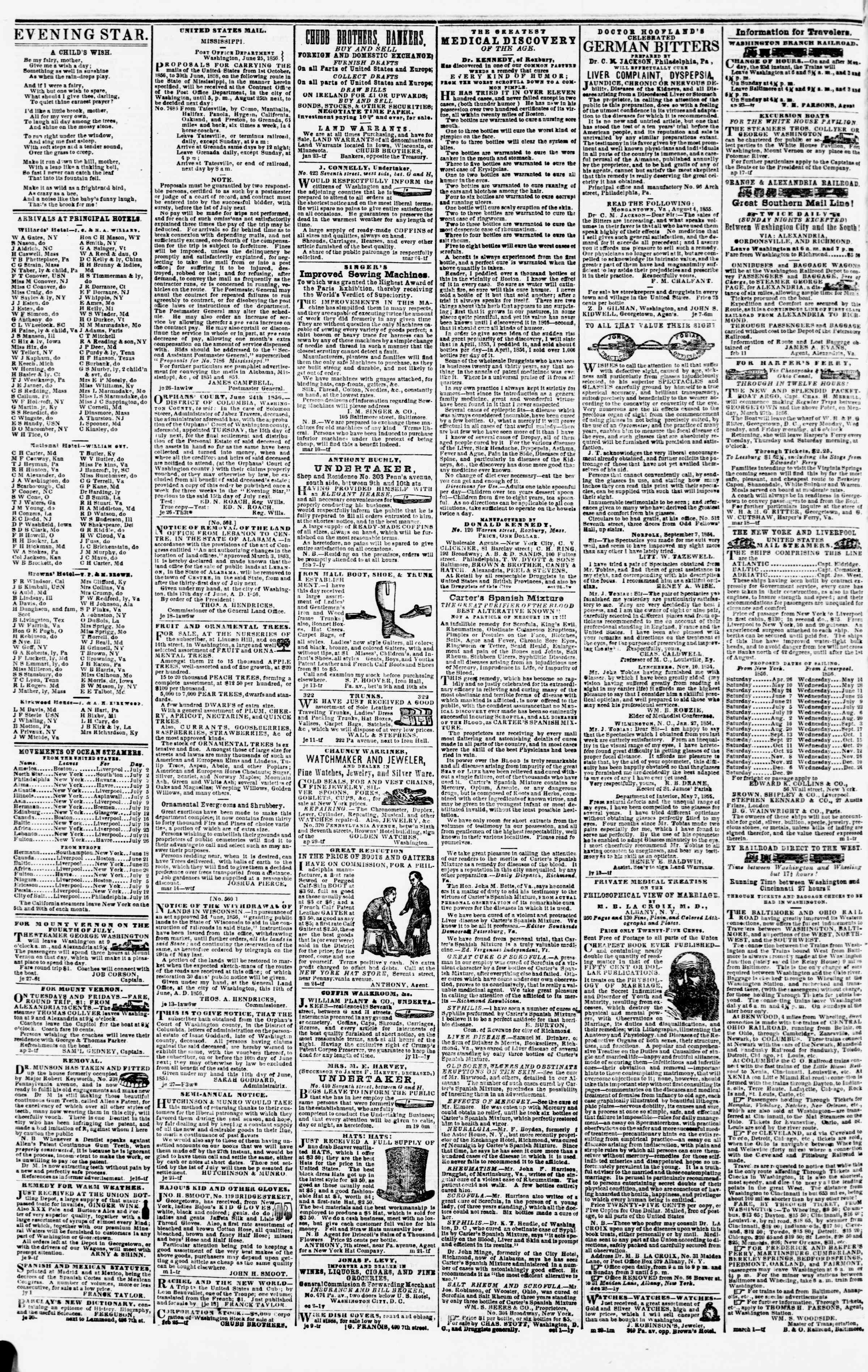 Newspaper of Evening Star dated July 3, 1856 Page 4