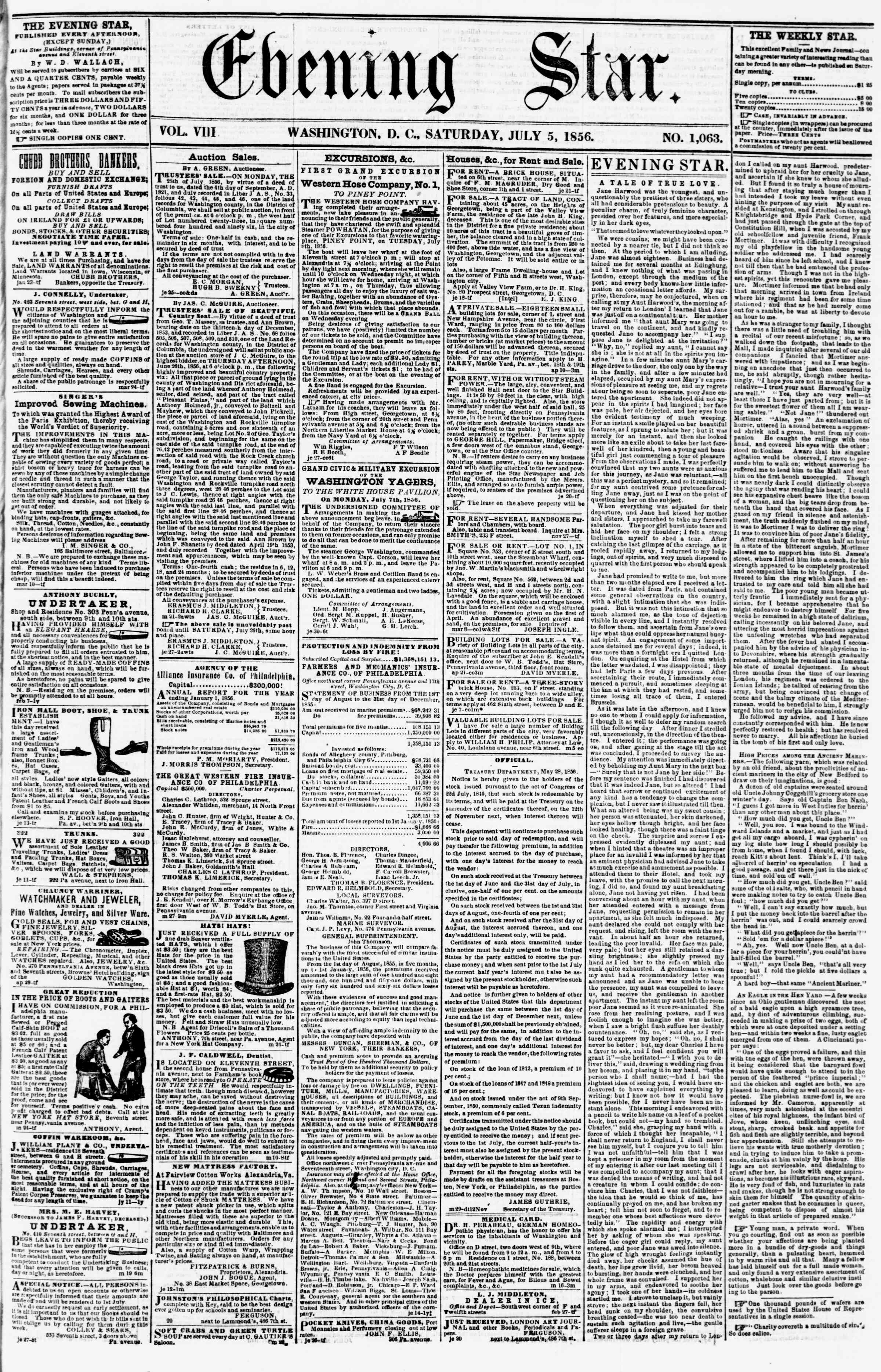 Newspaper of Evening Star dated July 5, 1856 Page 1