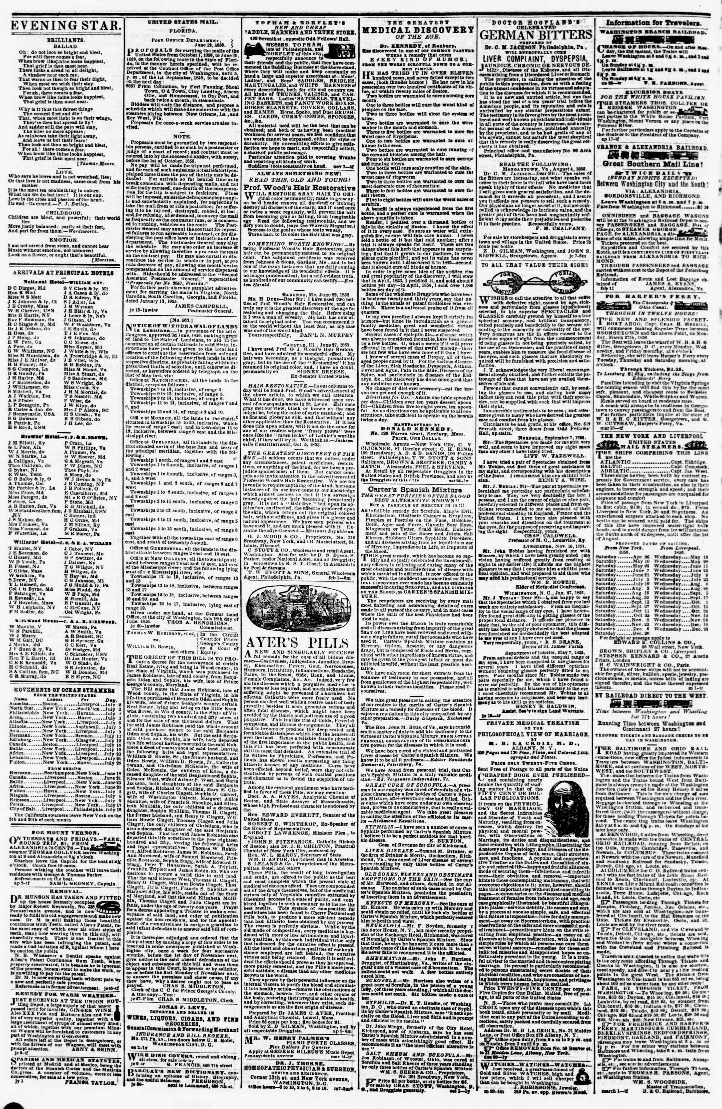 Newspaper of Evening Star dated July 5, 1856 Page 4