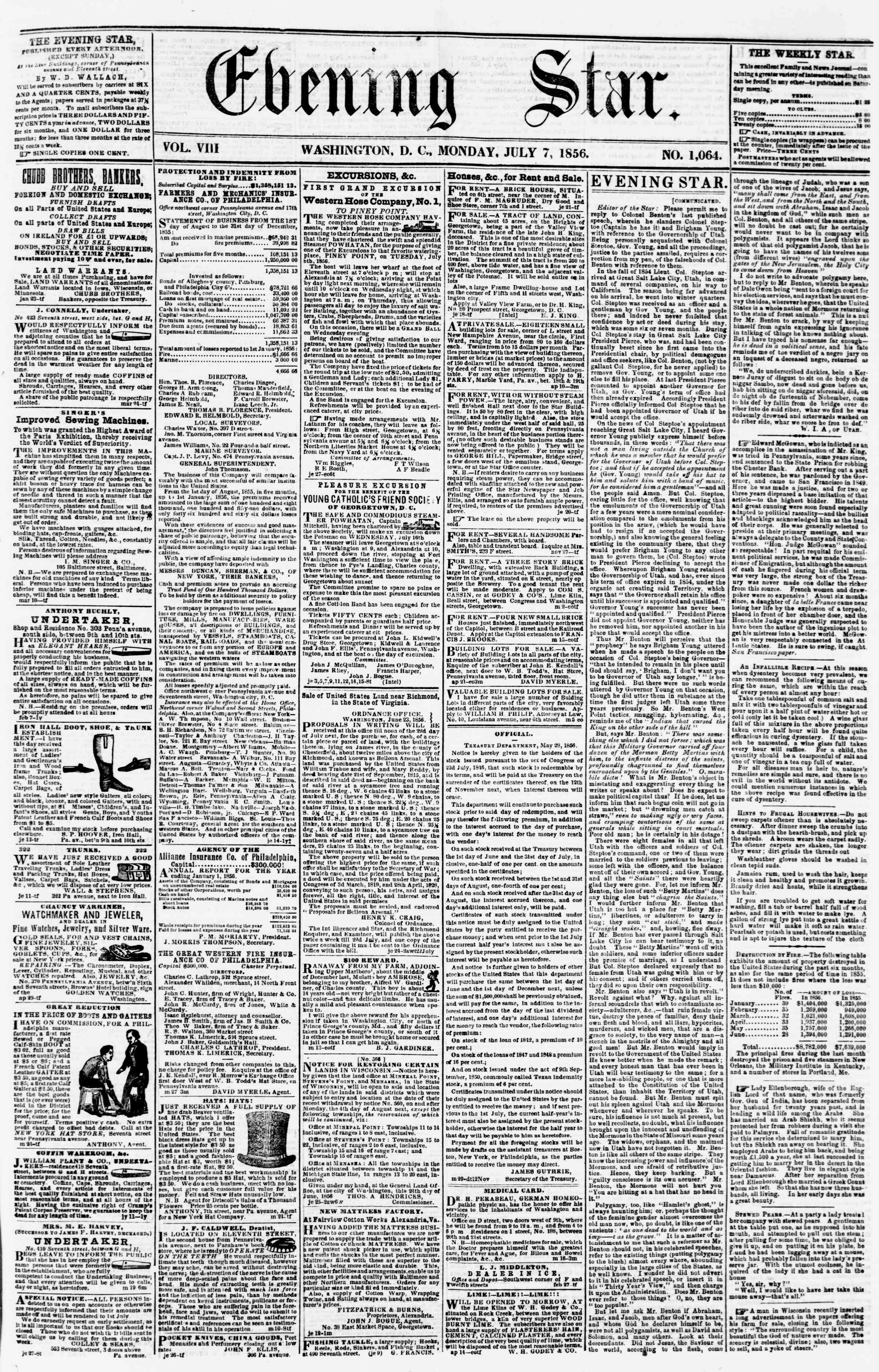 Newspaper of Evening Star dated July 7, 1856 Page 1