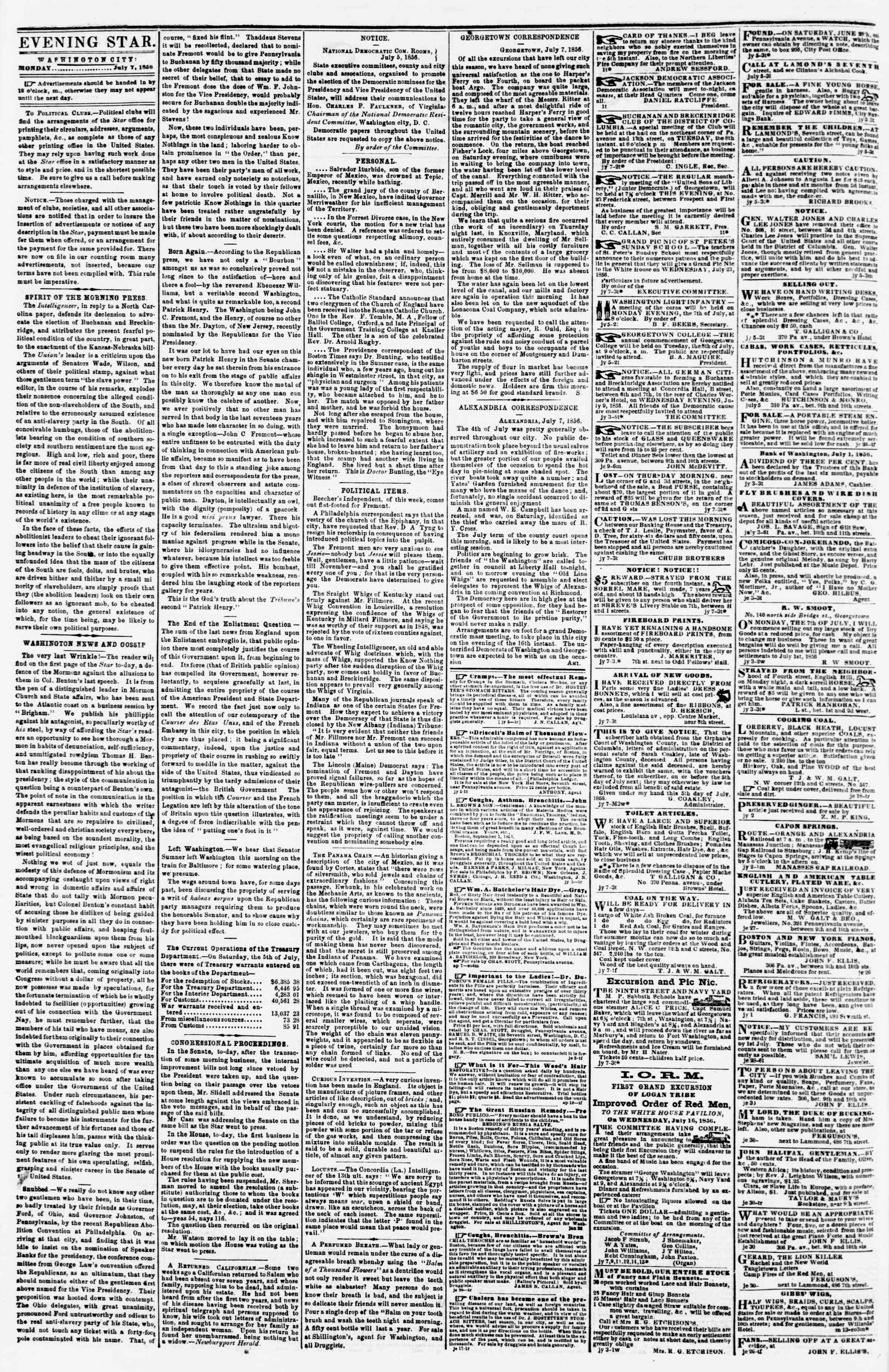 Newspaper of Evening Star dated July 7, 1856 Page 2
